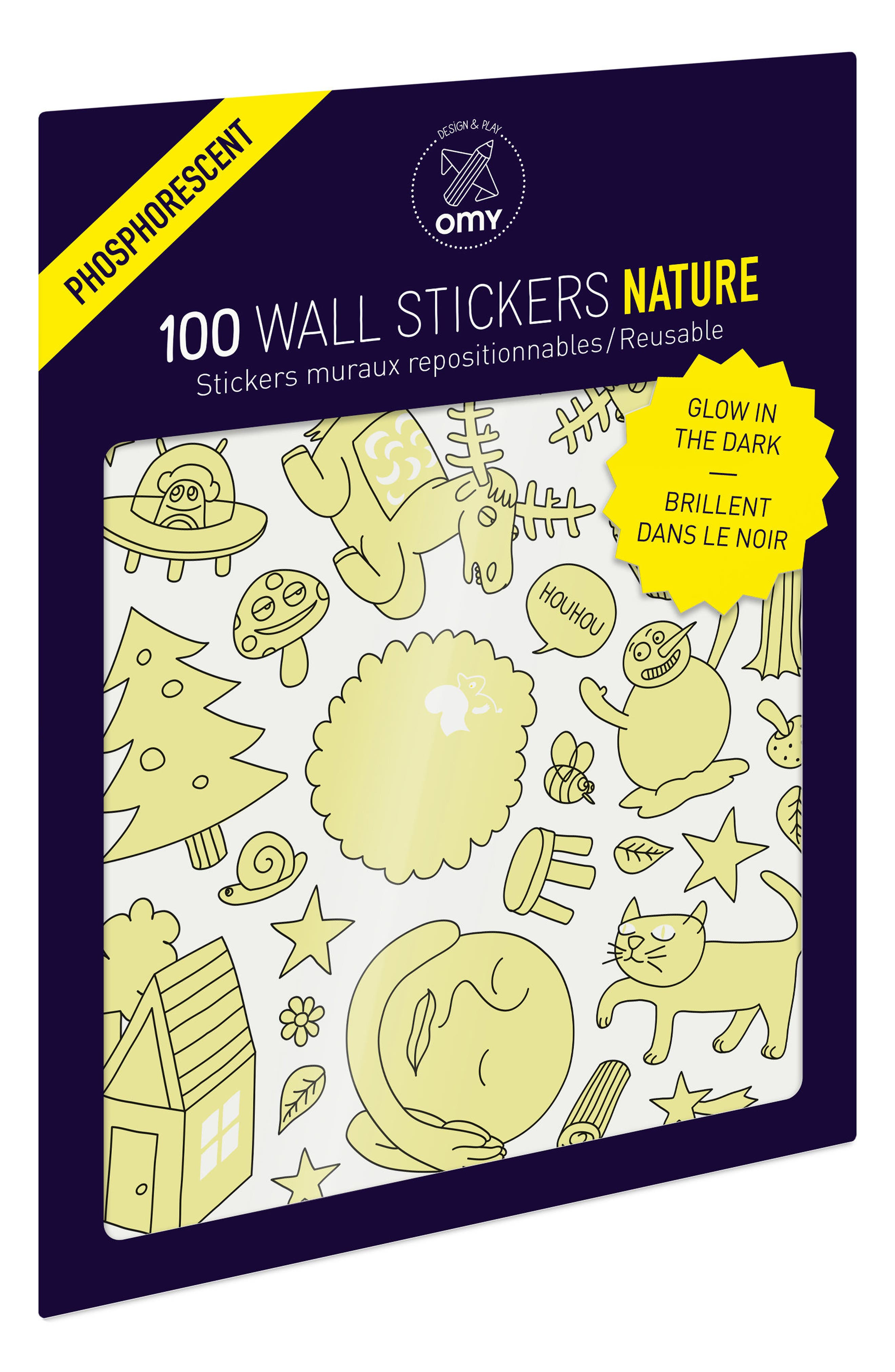 Set of 100 Nature Glow in the Dark Wall Stickers,                             Main thumbnail 1, color,                             Nature