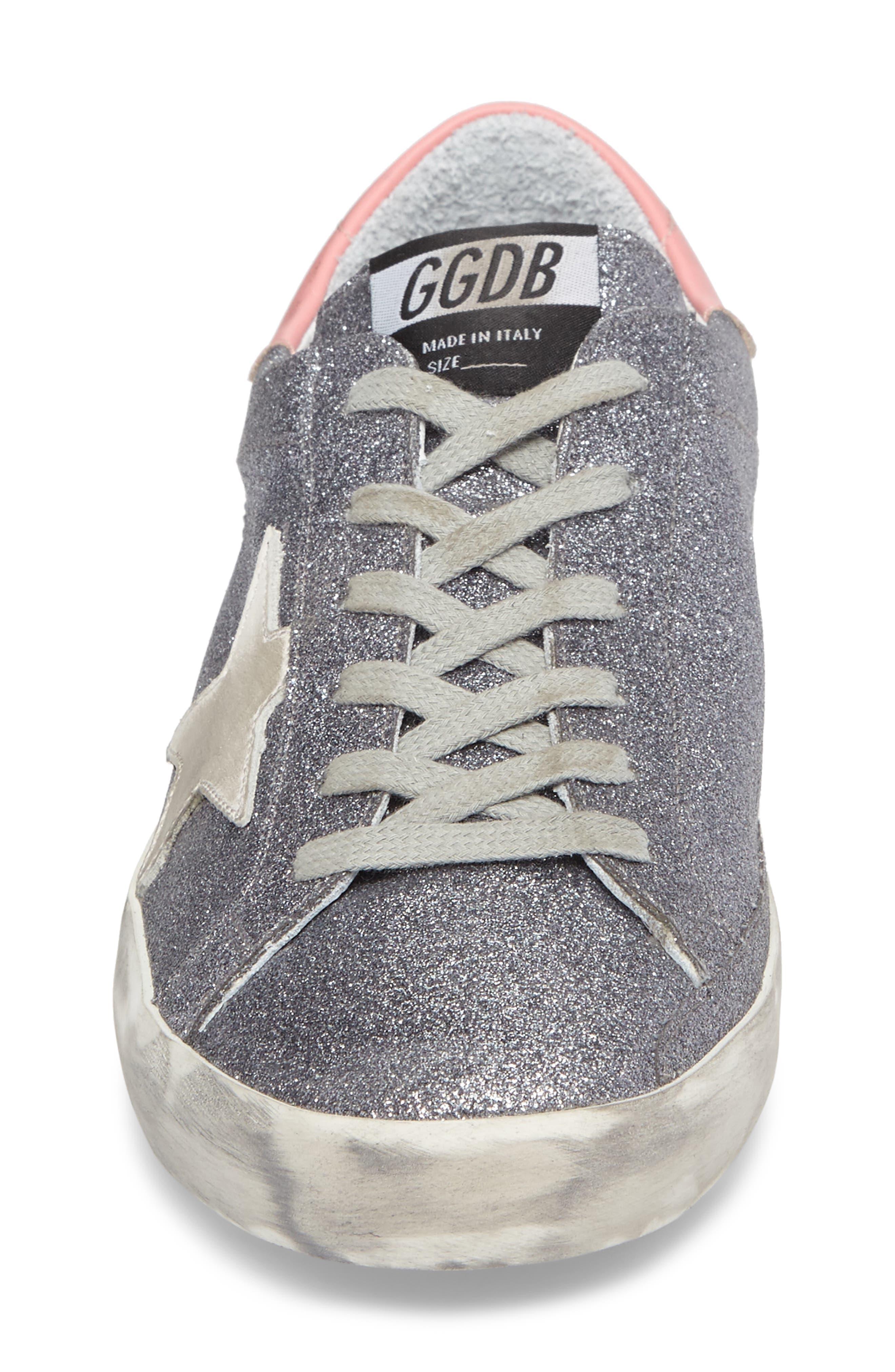 Superstar Low Top Sneaker,                             Alternate thumbnail 4, color,                             Gunmetal/ White