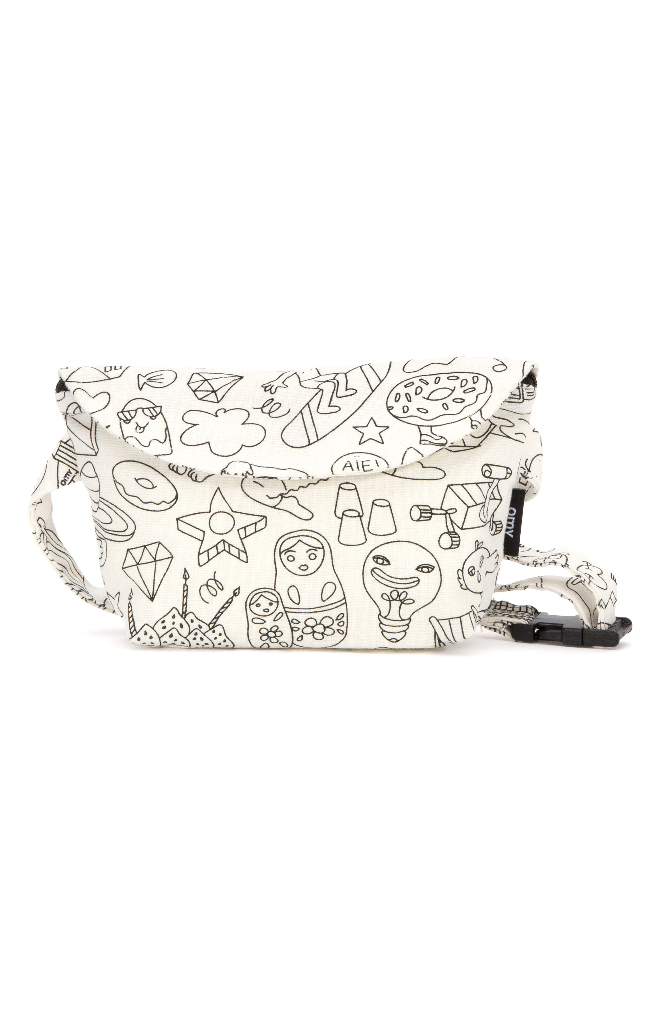 Colorable Cotton Fanny Pack,                         Main,                         color, White