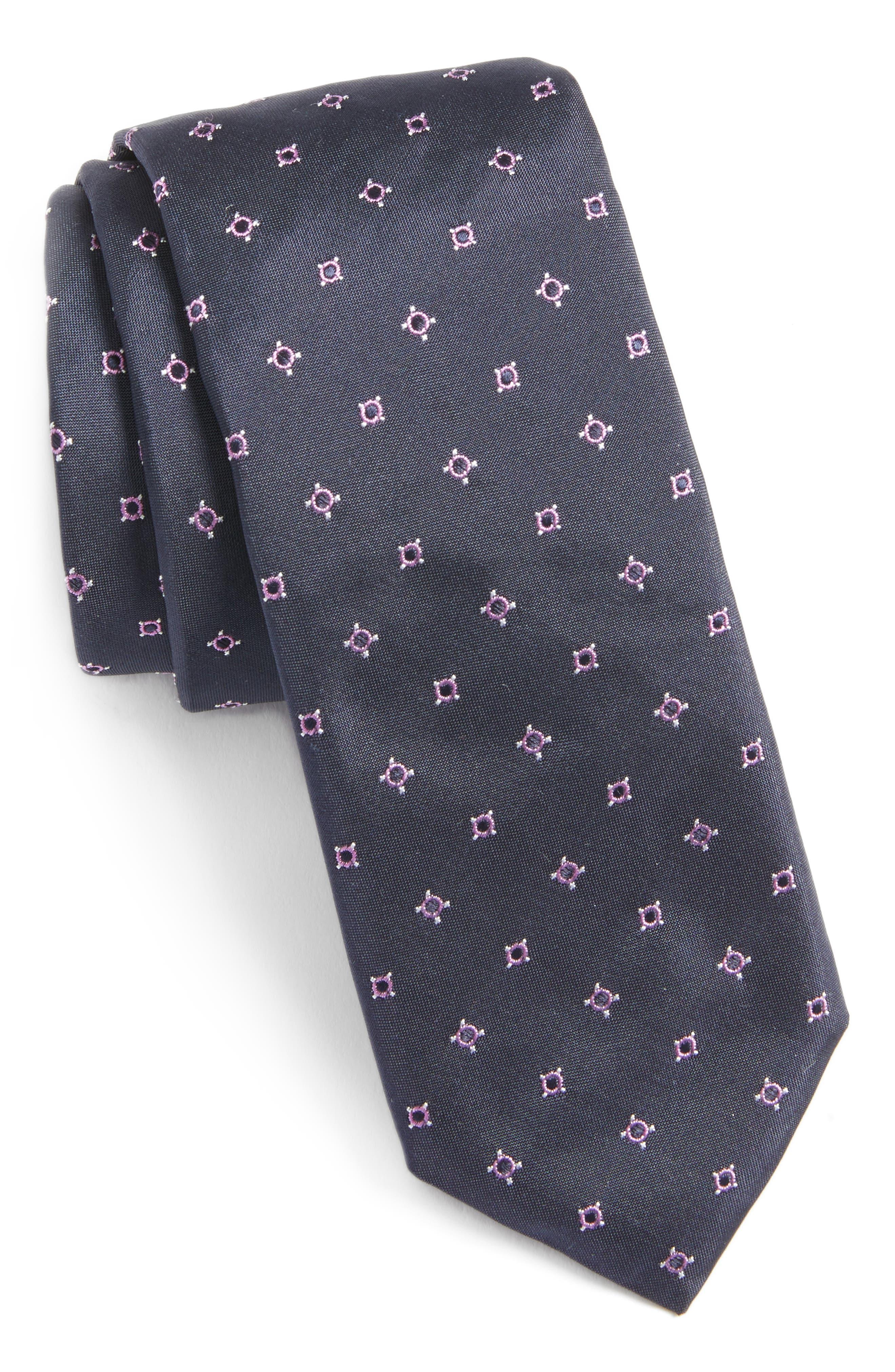 Geometric Skinny Silk Tie,                             Main thumbnail 1, color,                             Pink/ Navy