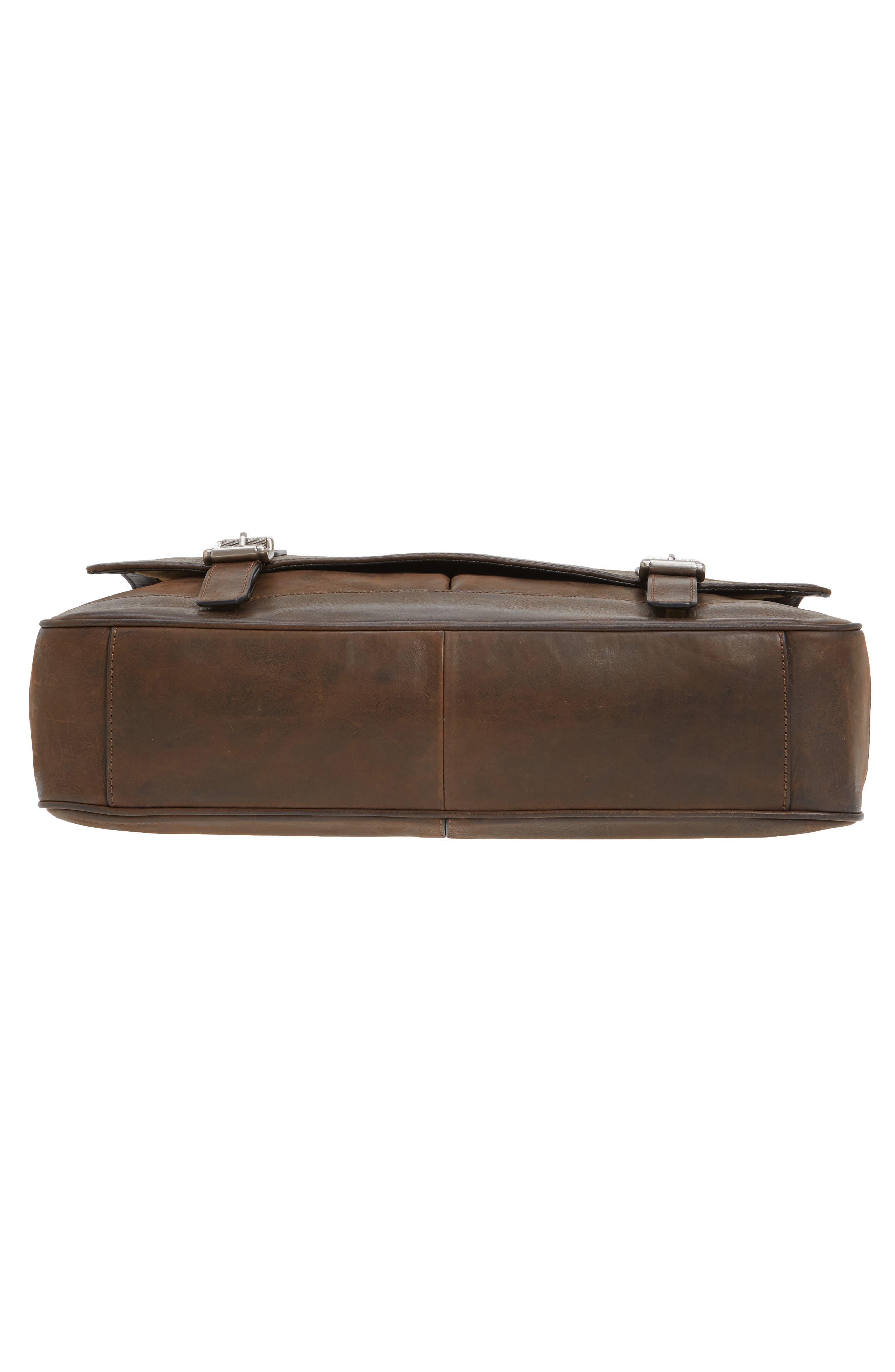 Oliver Leather Messenger Bag,                             Alternate thumbnail 6, color,                             Dark Brown