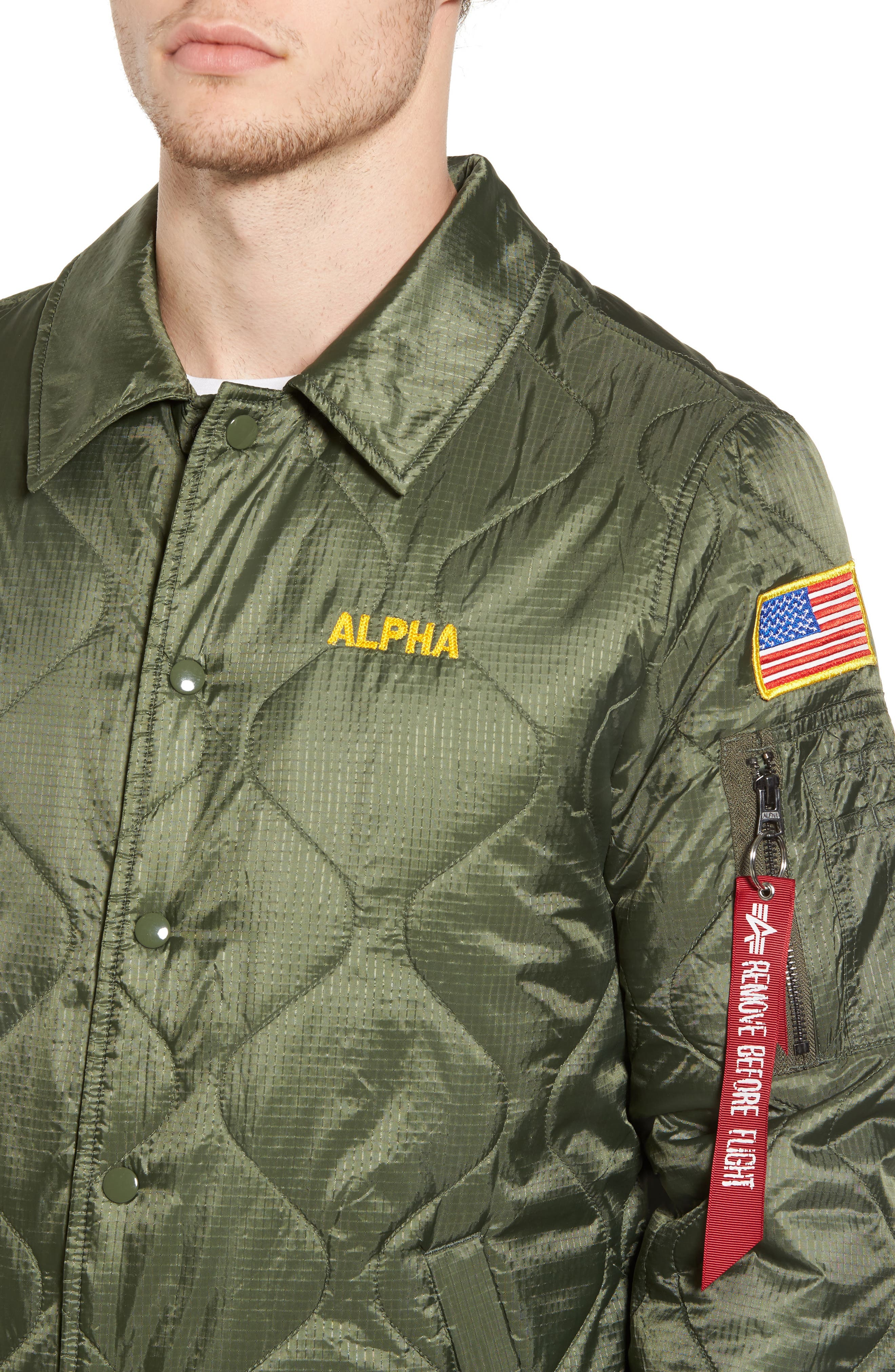 Quilted Storm Cruiser Jacket,                             Alternate thumbnail 4, color,                             Sage