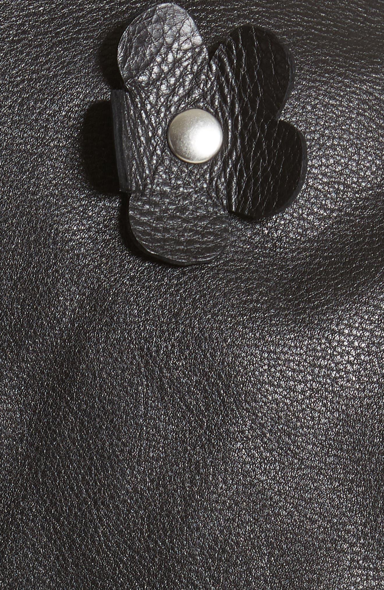 Alternate Image 5  - Sandy Liang Petals Delancey Leather Moto Jacket
