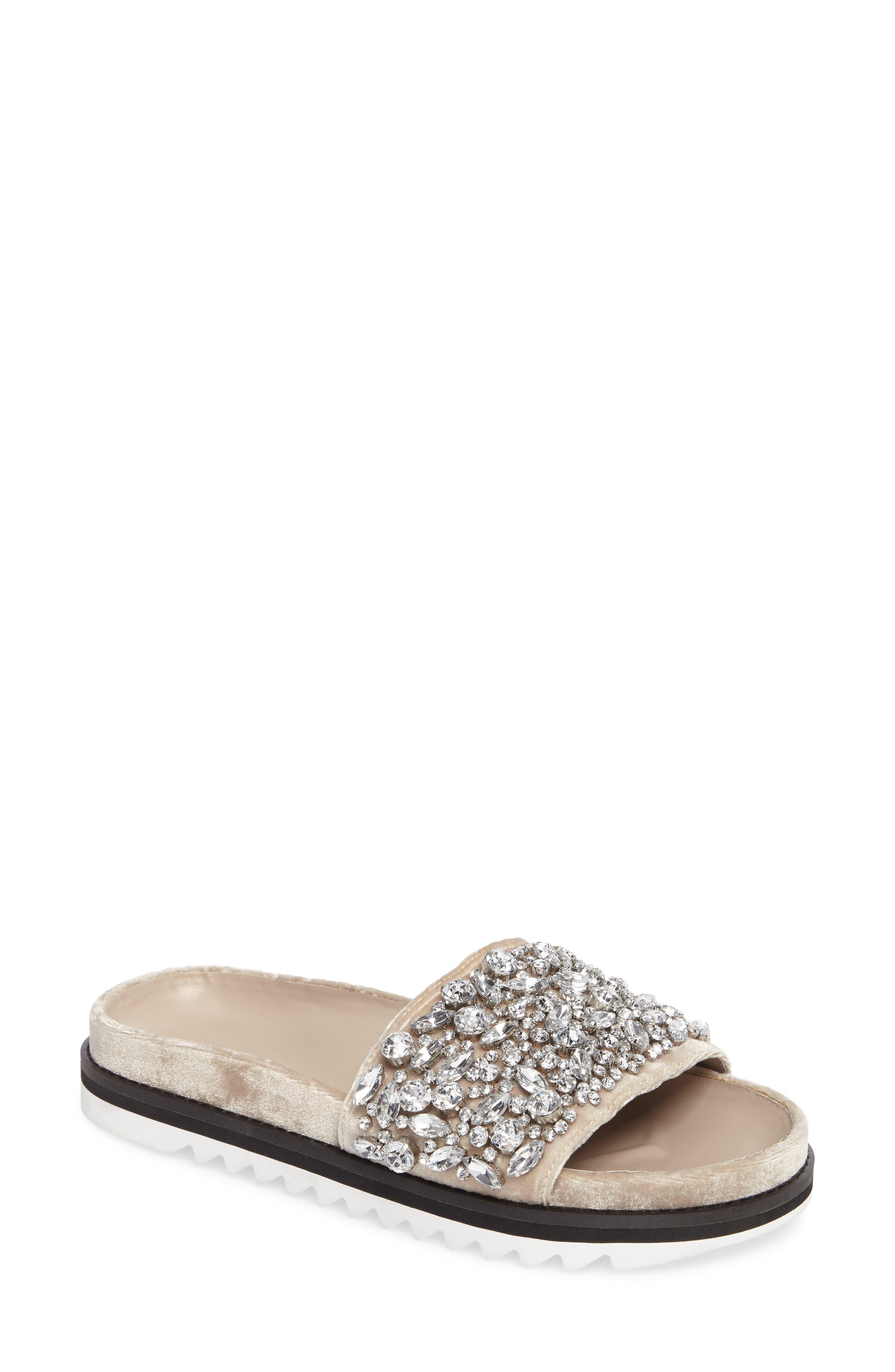 Jacory Crystal Embellished Slide Sandal,                             Main thumbnail 1, color,                             Fog