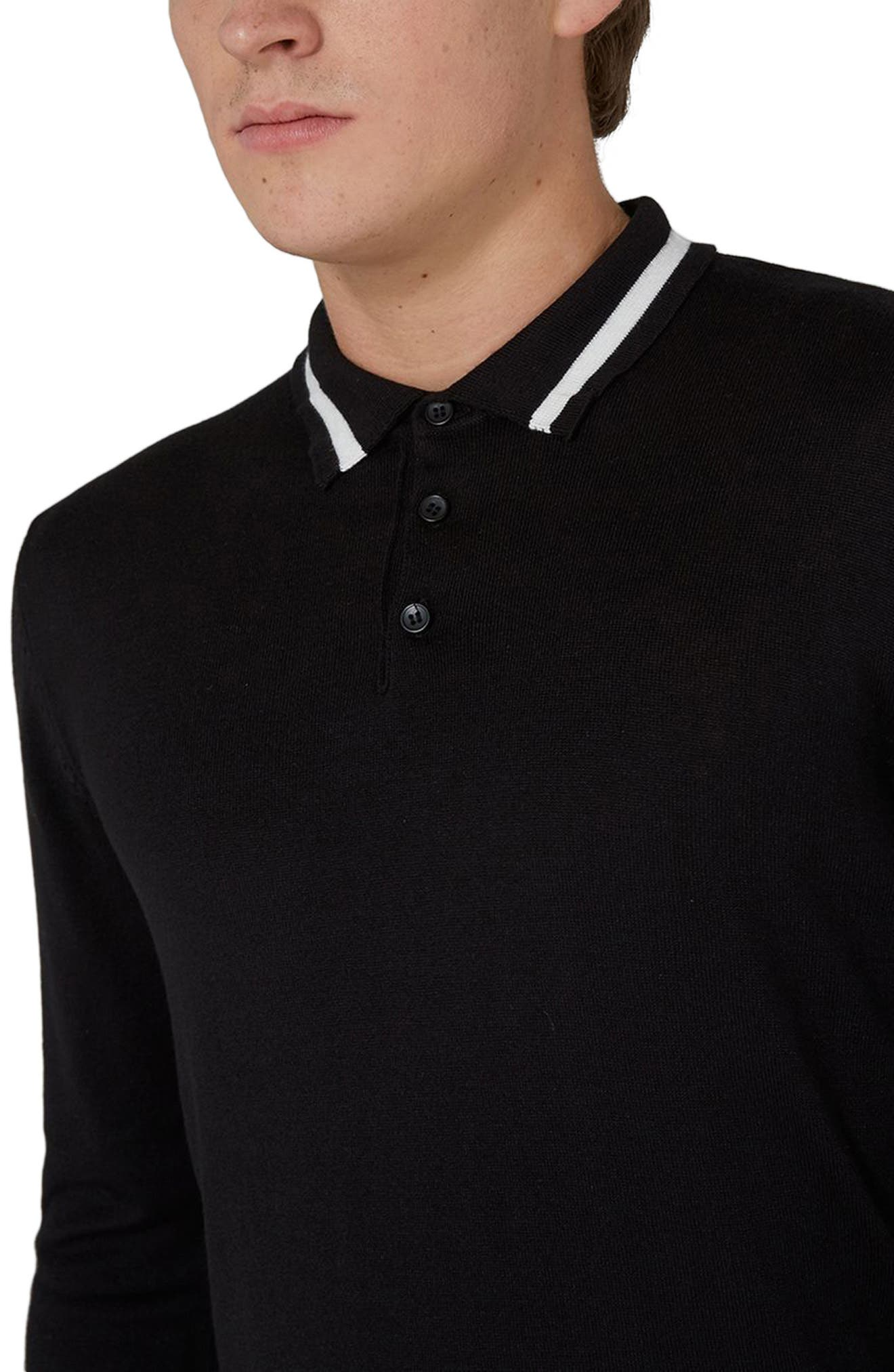 Classic Tipped Knit Polo,                             Alternate thumbnail 3, color,                             Black