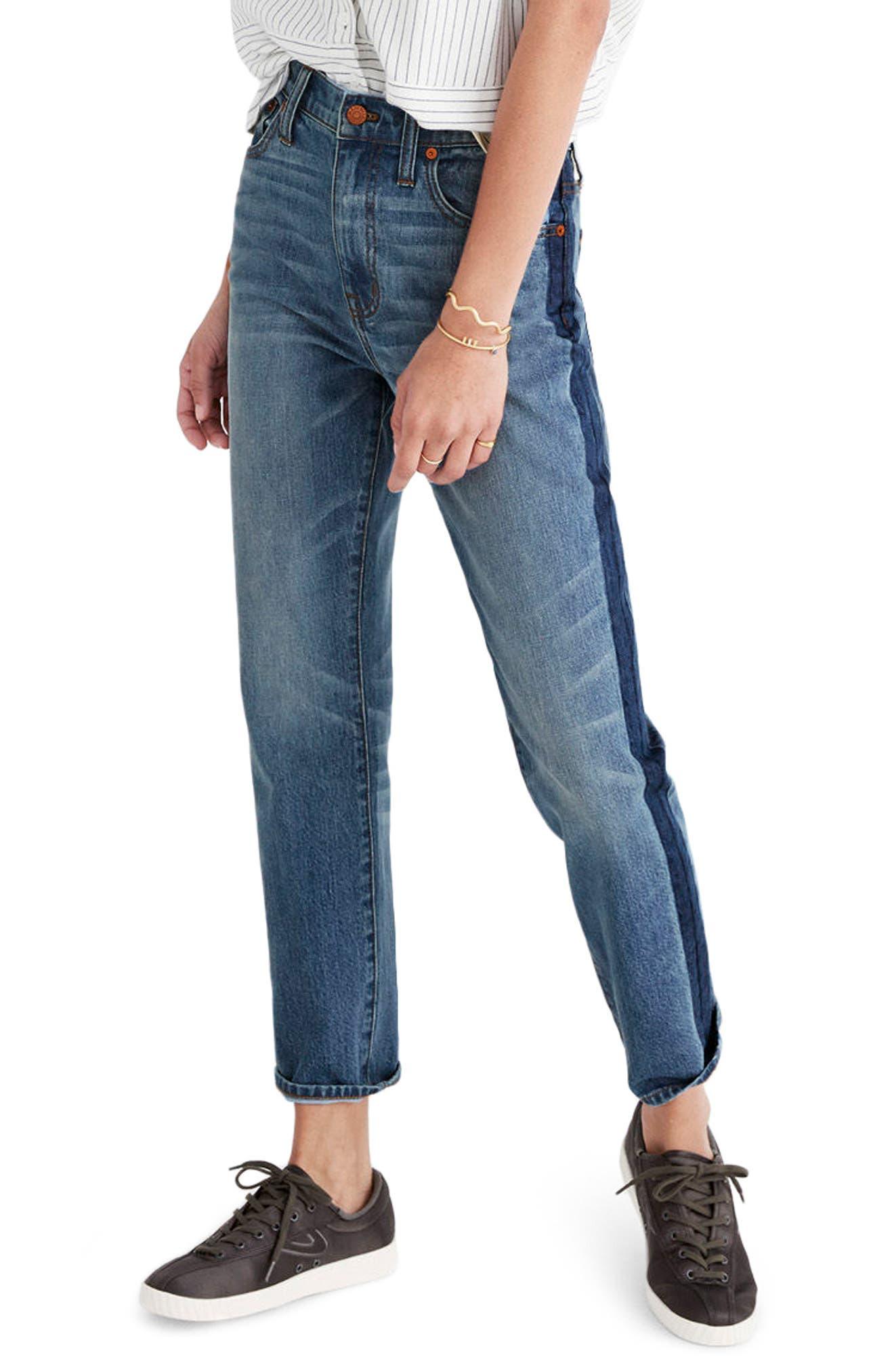 11-Inch High Rise Stripe Slim Boyfriend Jeans,                             Main thumbnail 1, color,                             Canton Wash
