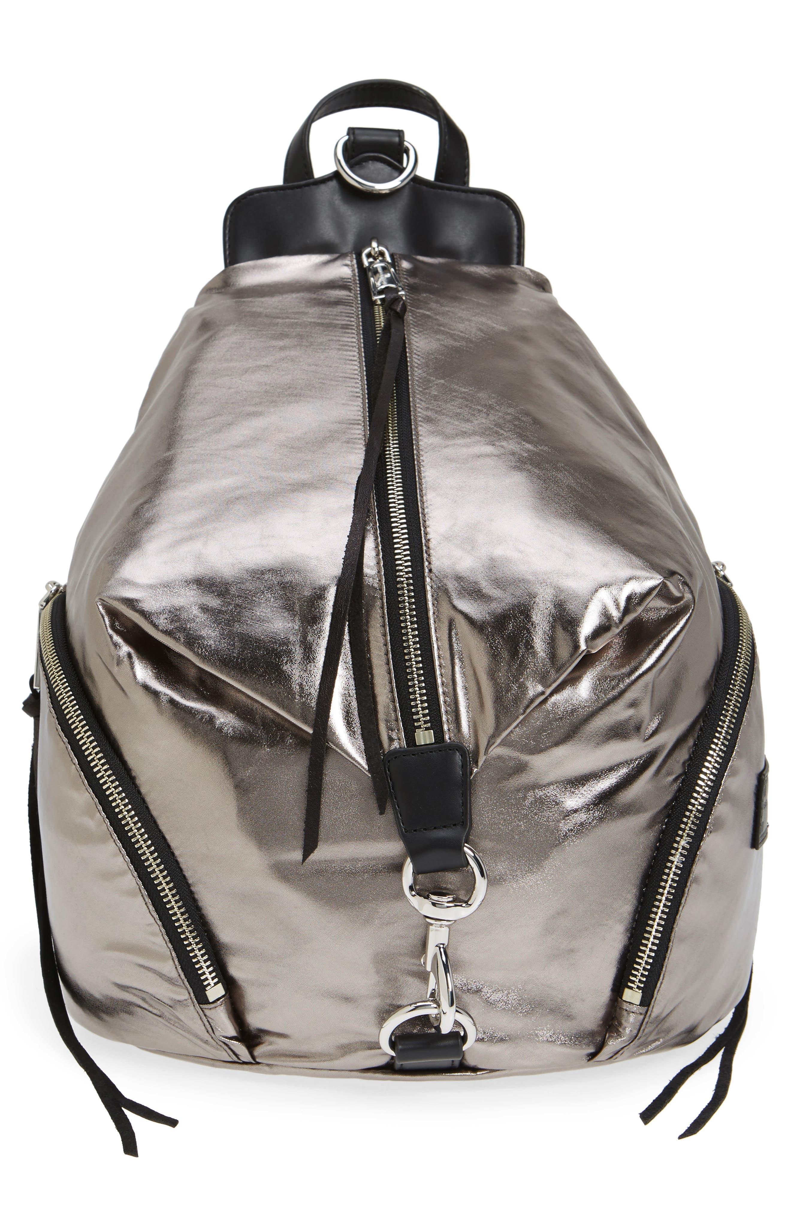 Julian Nylon Backpack,                         Main,                         color, Silver