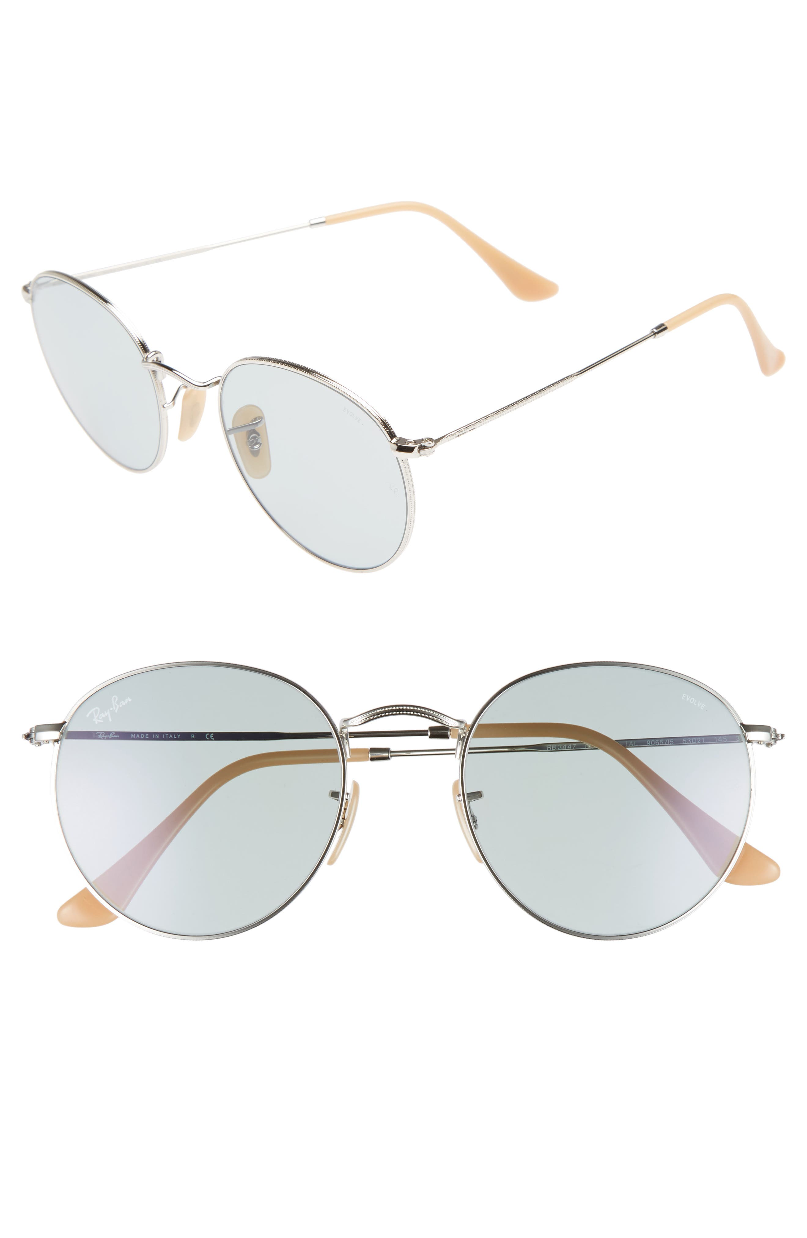 53mm Polarized Round Sunglasses,                             Main thumbnail 1, color,                             Silver Blue