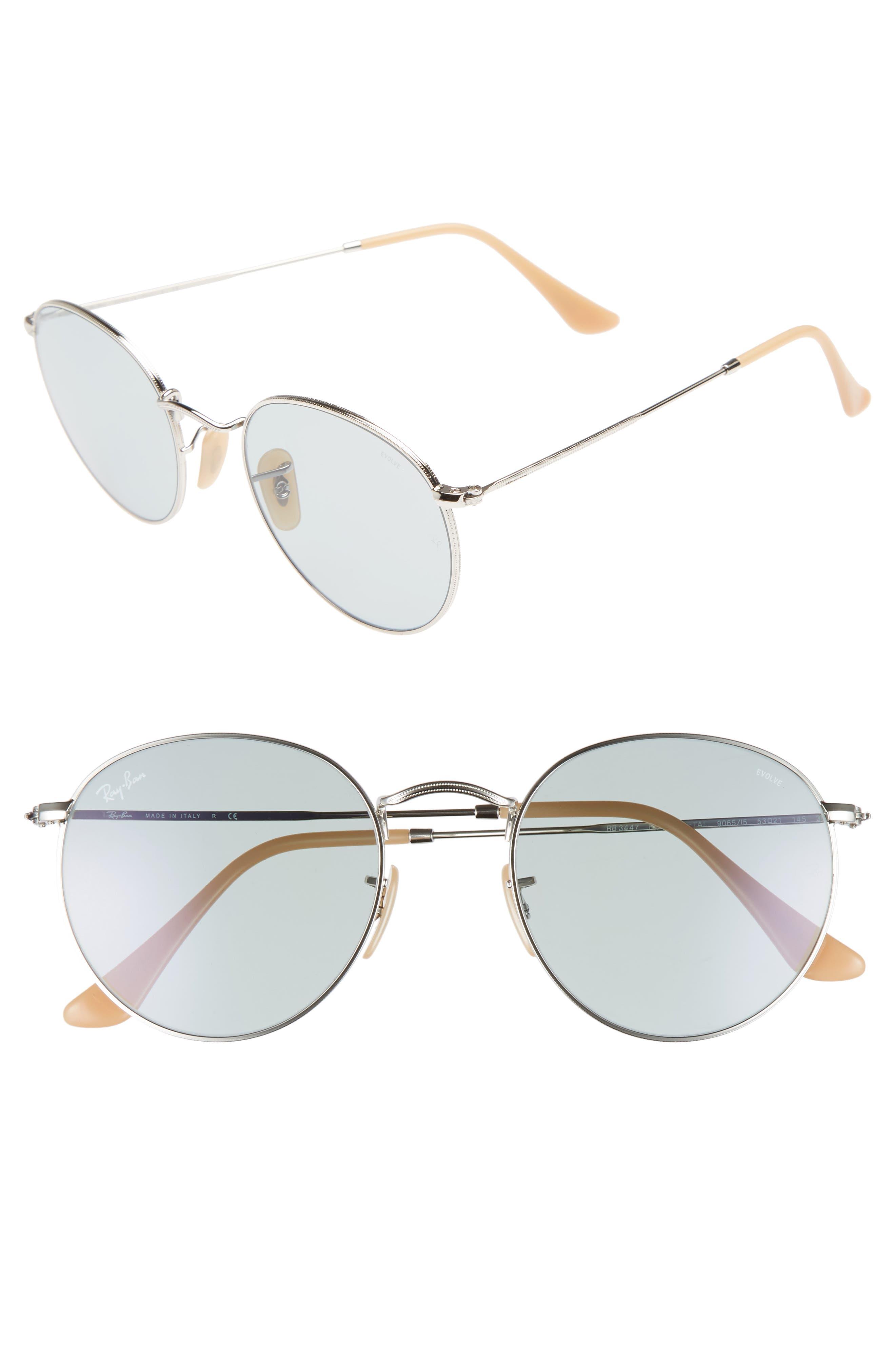 53mm Polarized Round Sunglasses,                         Main,                         color, Silver Blue