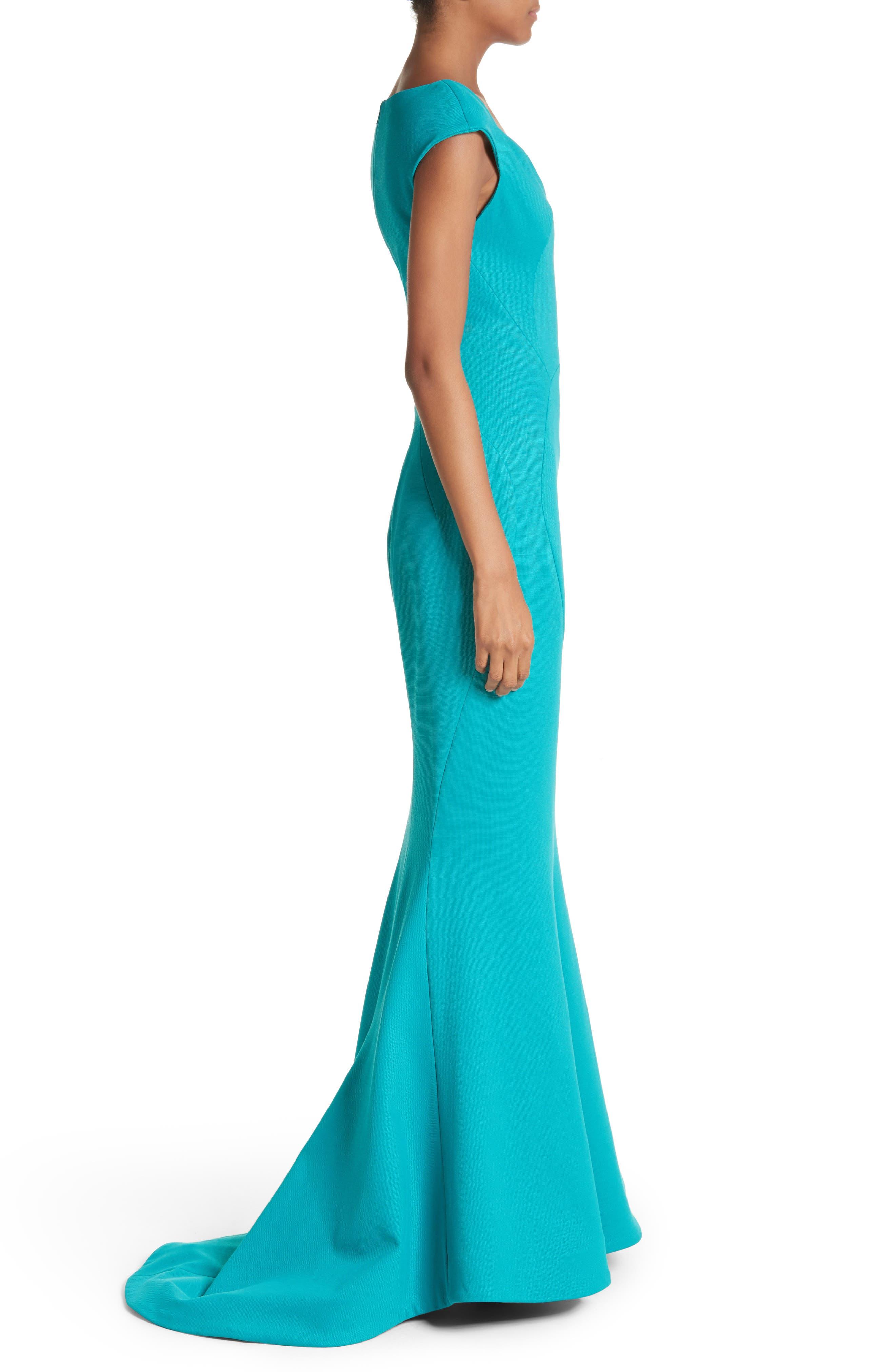 Cap Sleeve Bondage Jersey Mermaid Gown,                             Alternate thumbnail 3, color,                             Turquoise