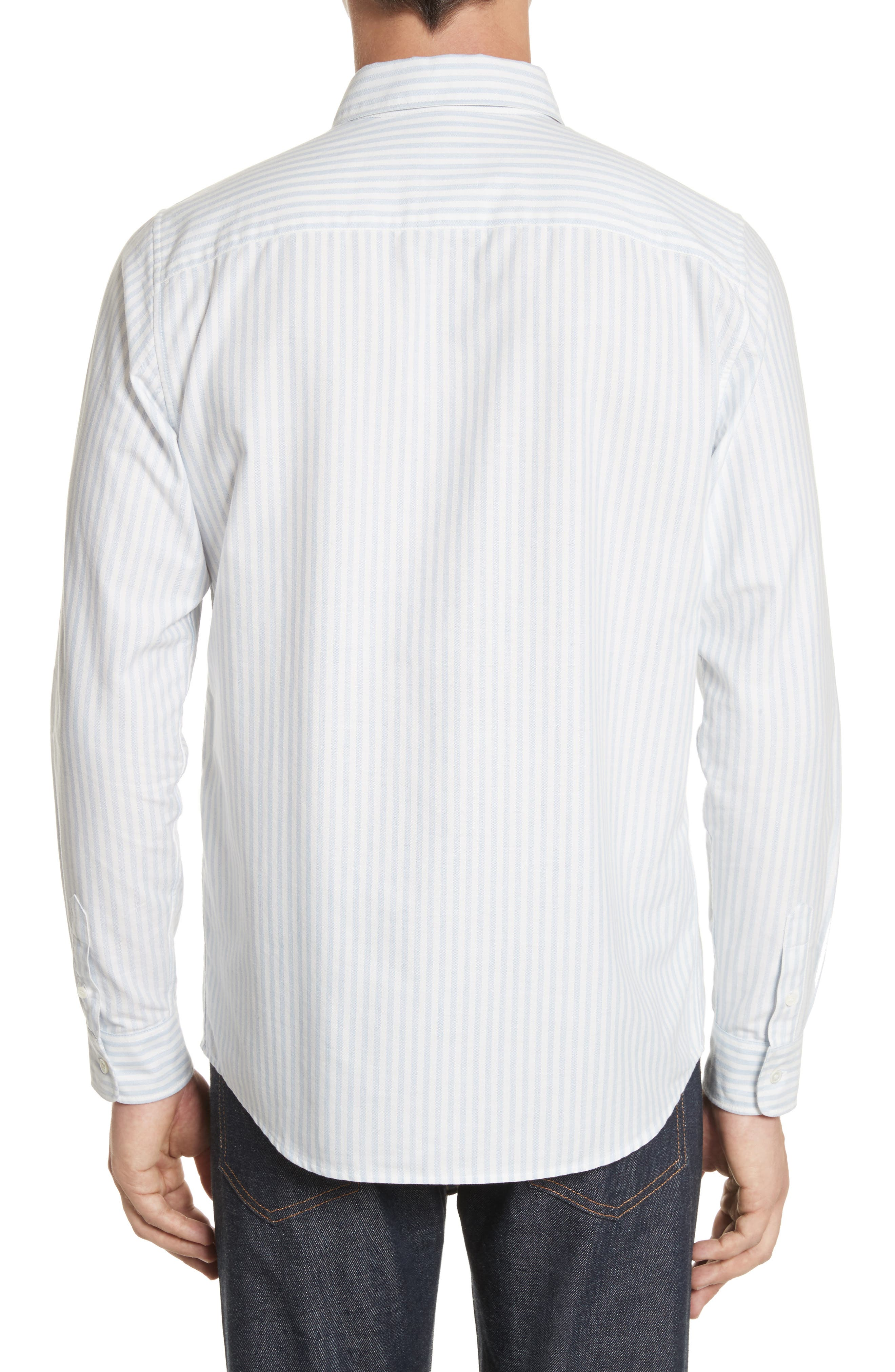 Oliver Stripe Oxford Shirt,                             Alternate thumbnail 3, color,                             Blue