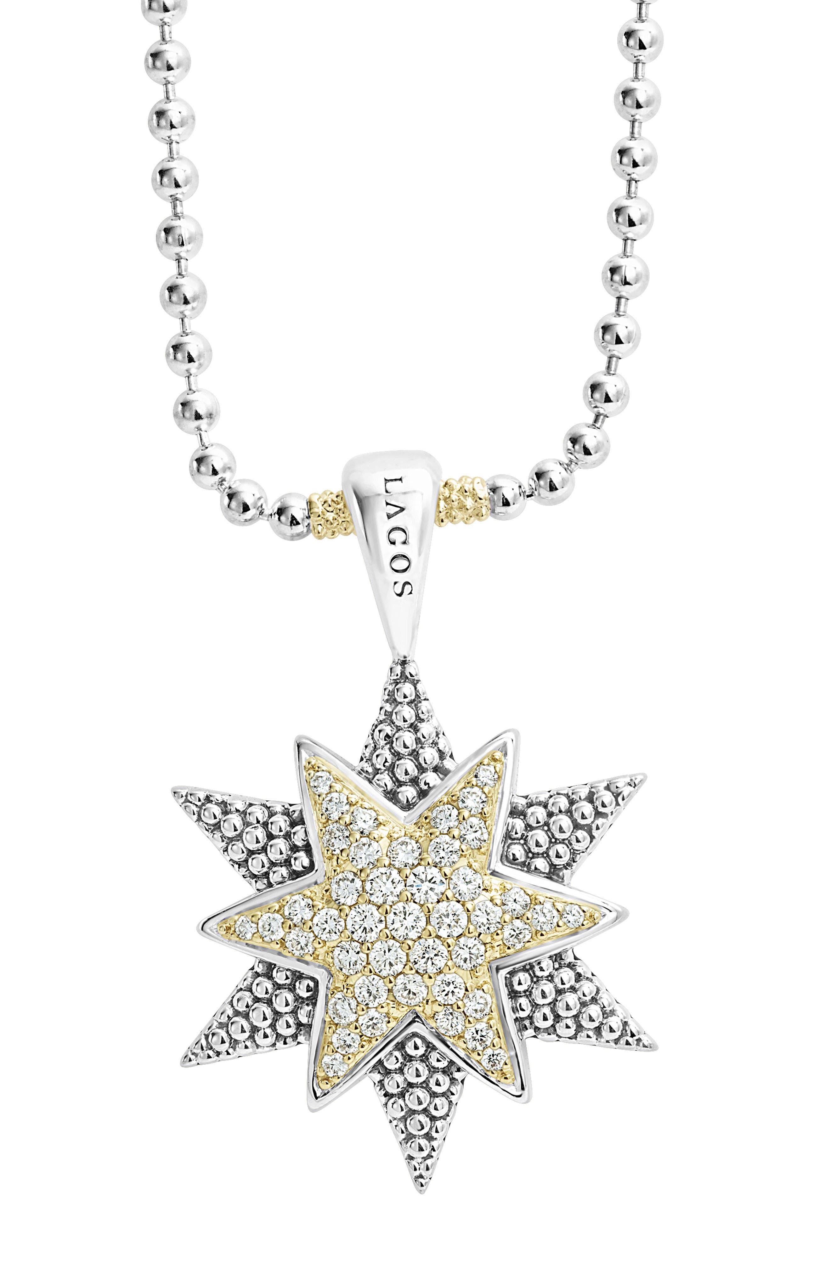 North Star Large Diamond Pendant Necklace,                             Alternate thumbnail 5, color,                             Diamond