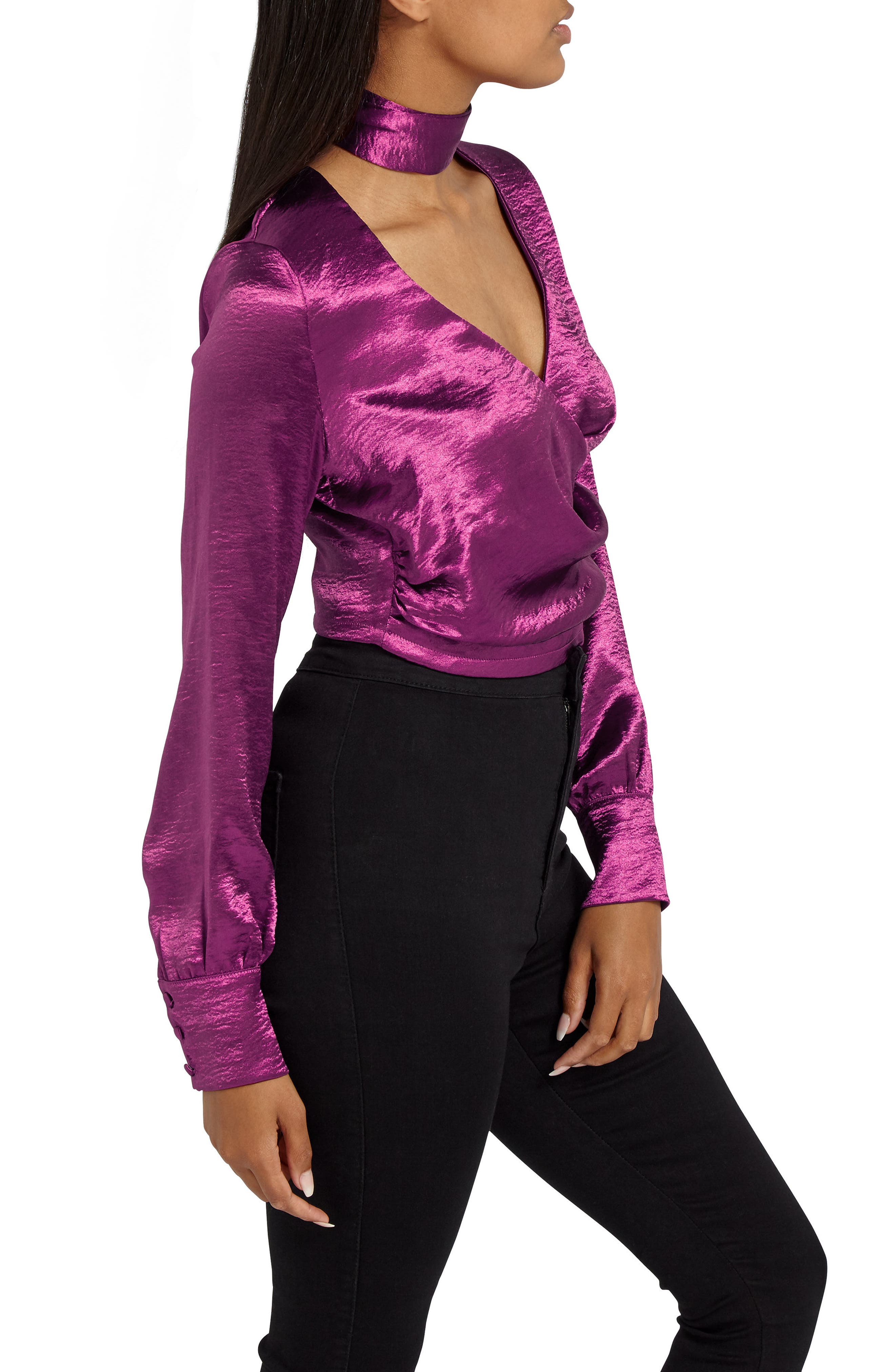 Alternate Image 4  - Missguided Choker Collar Faux Wrap Blouse