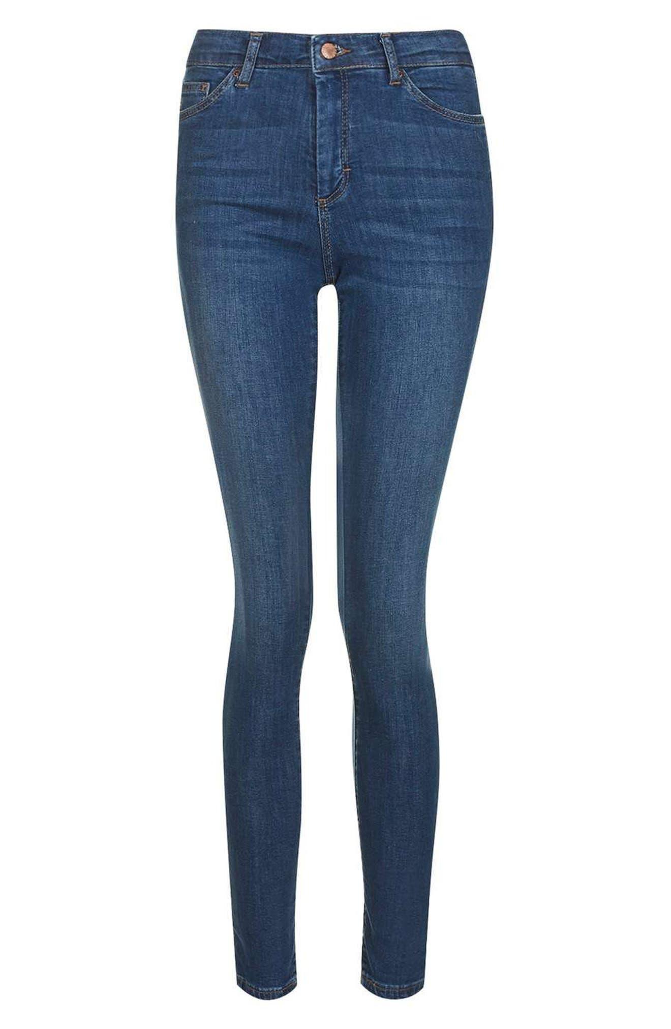 Leigh Skinny Jeans,                             Alternate thumbnail 5, color,                             Mid Denim