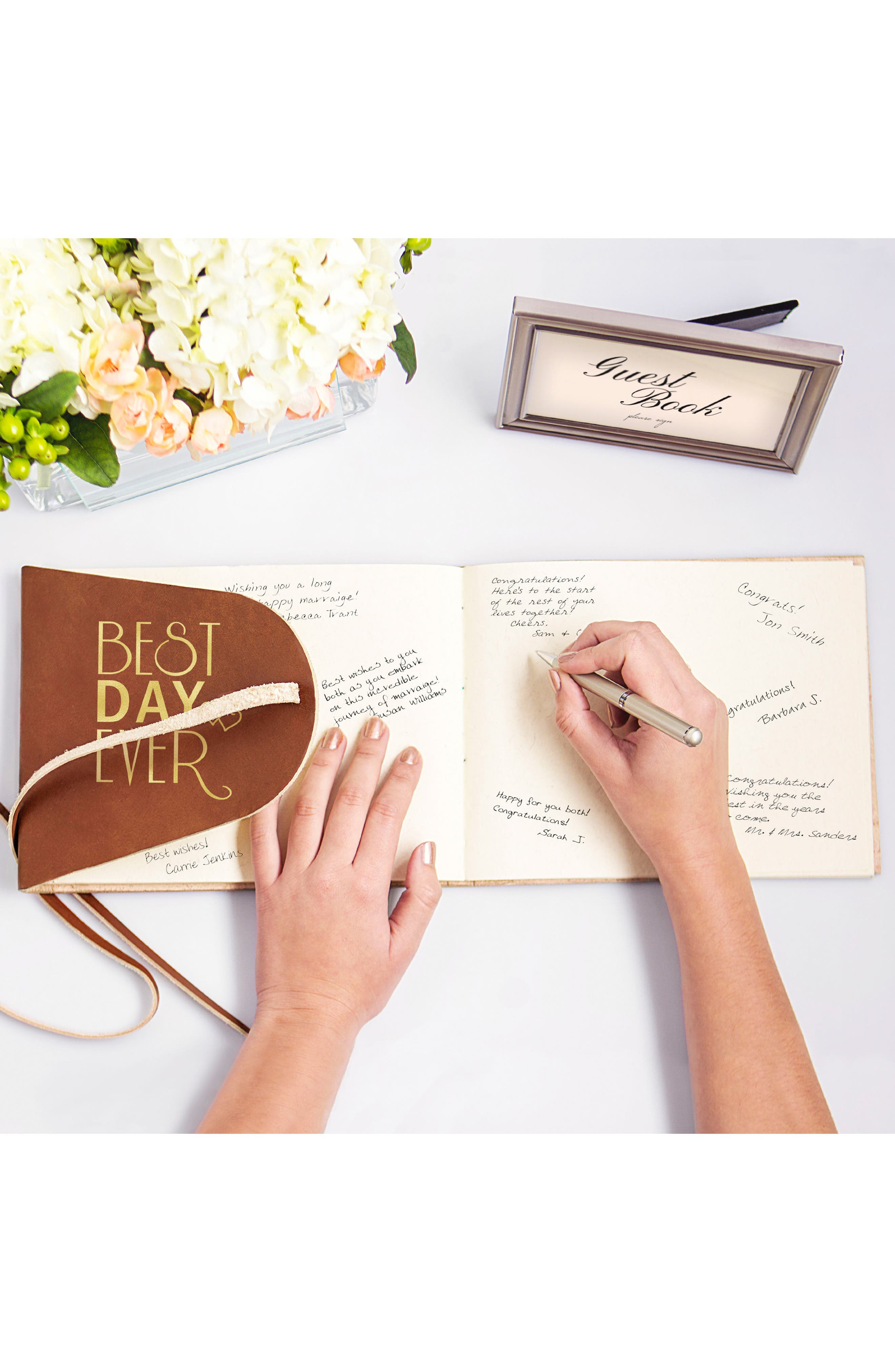 Best Day Ever Leather Guest Book,                             Alternate thumbnail 3, color,                             Gold