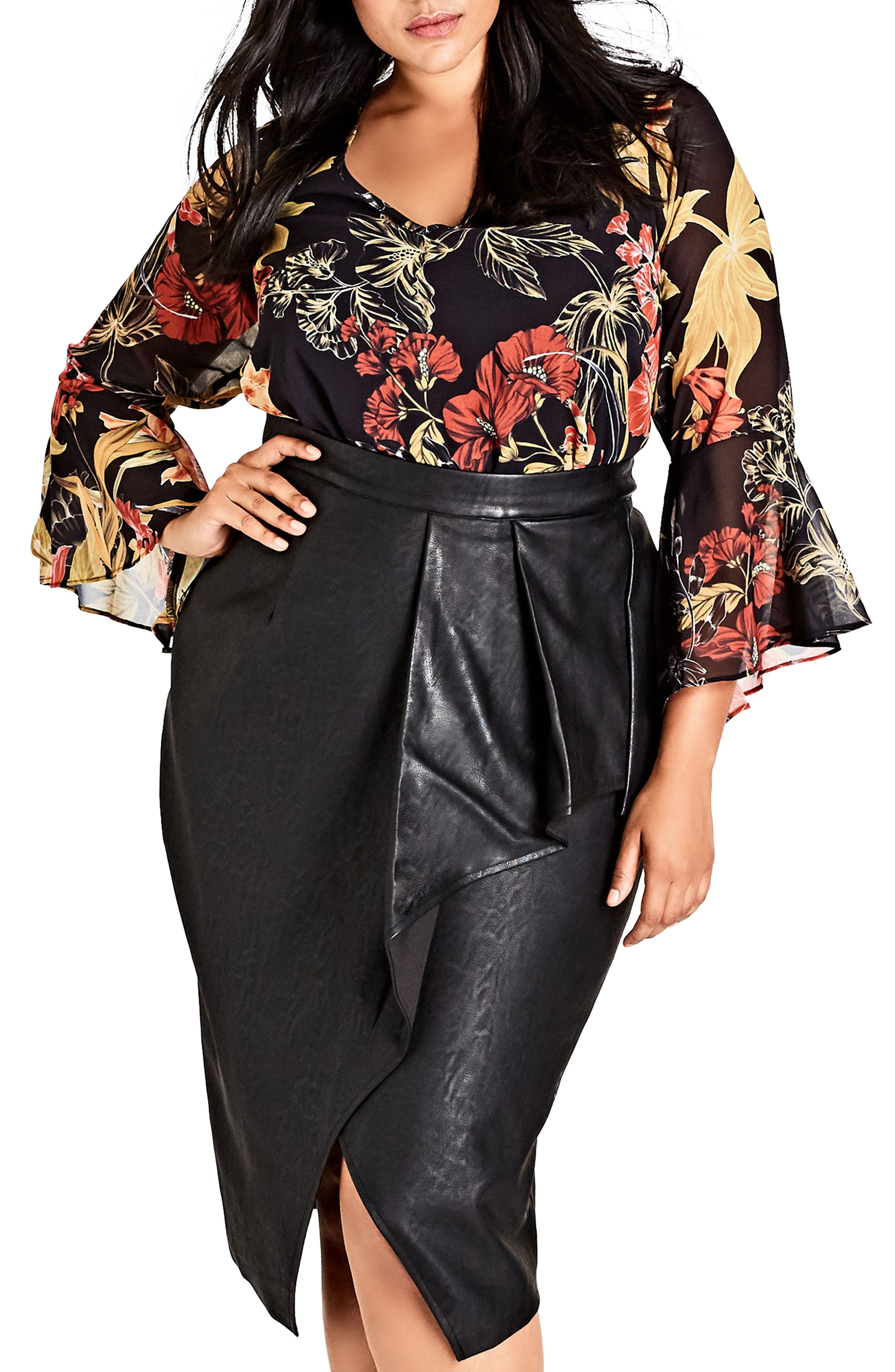 Main Image - City Chic Gold Floral Bell Sleeve Blouse (Plus Size)