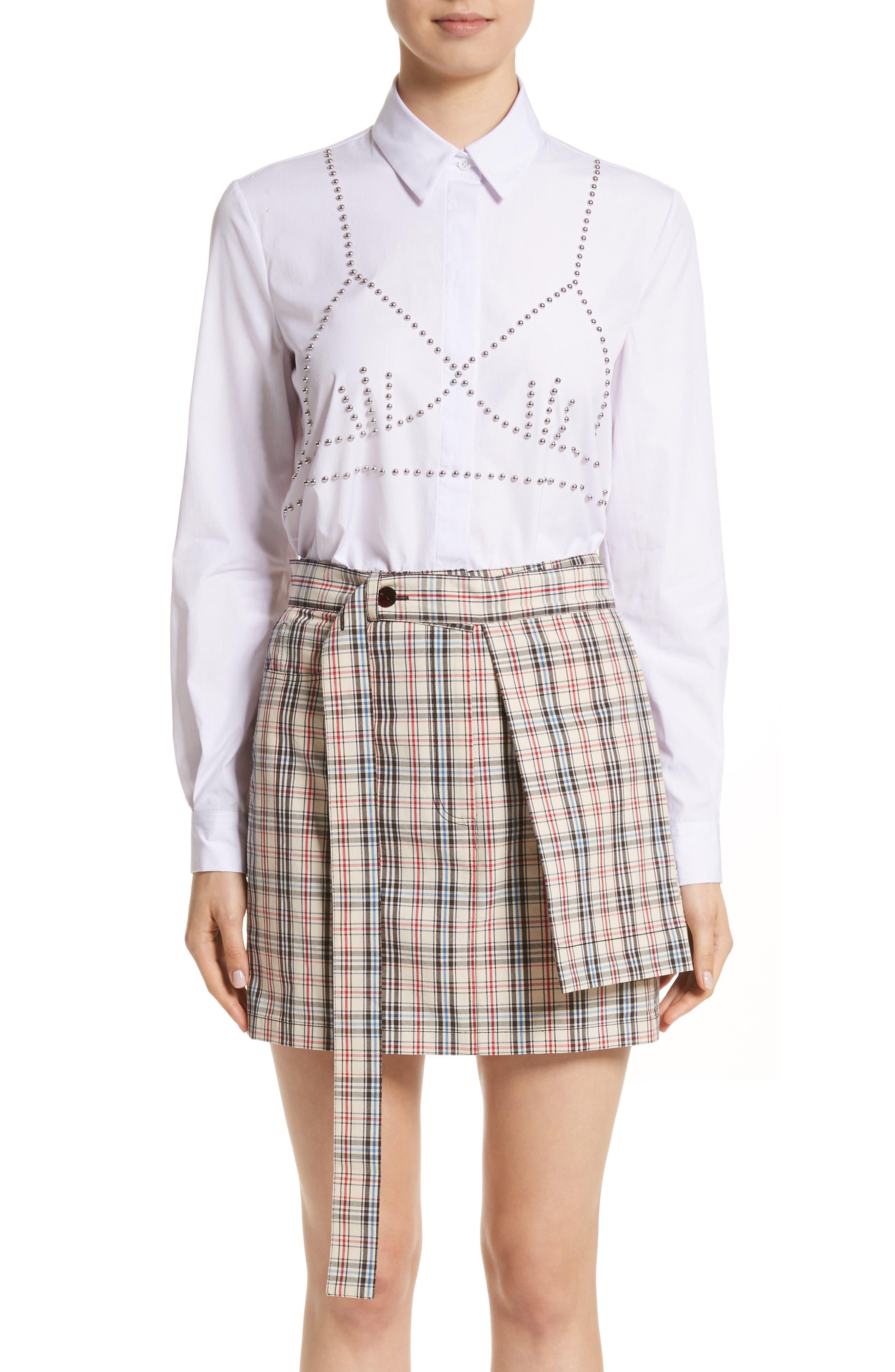 Classic Studded Bra Shirt,                             Main thumbnail 1, color,                             Lilac/ White