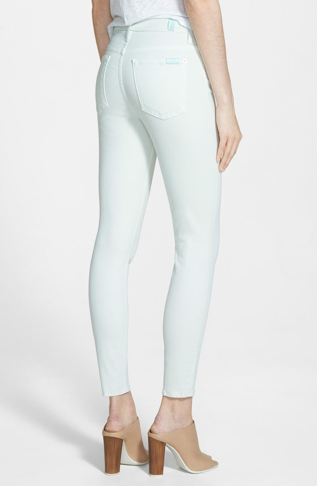 Alternate Image 2  - 7 For All Mankind® High Rise Ankle Skinny Jeans (Light Mint)