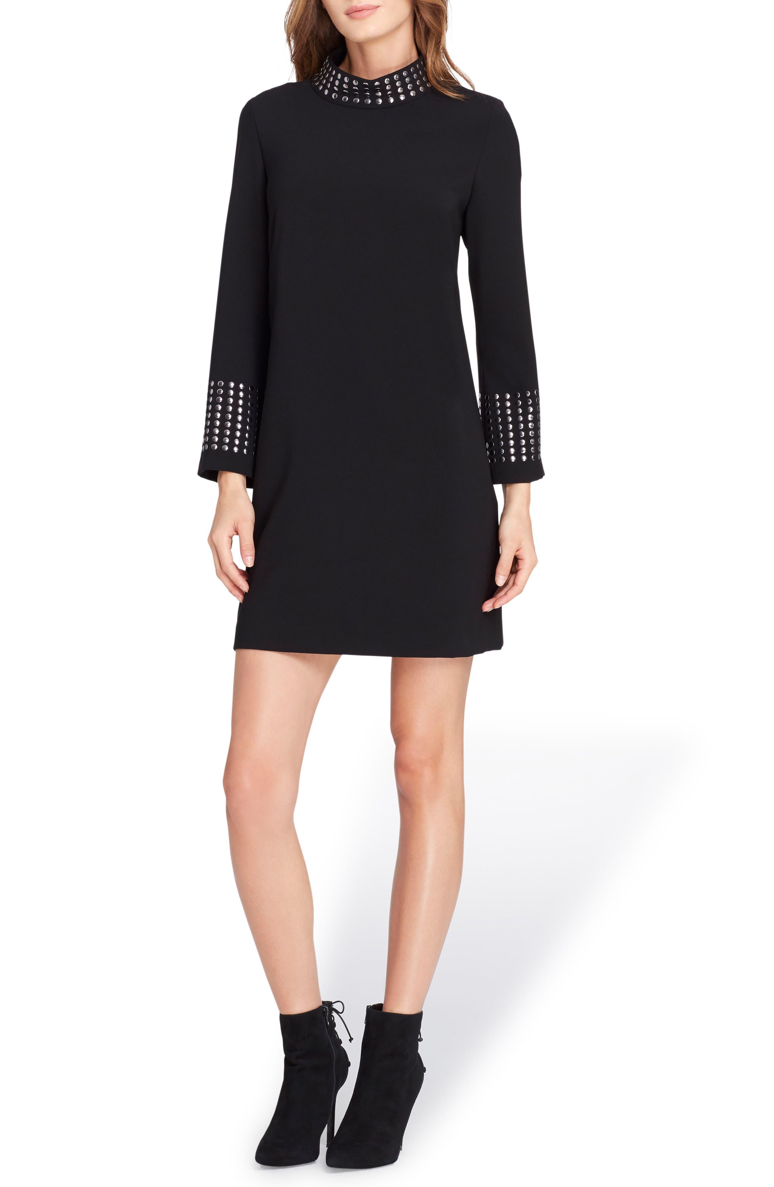 Embellished High Neck Shift Dress,                         Main,                         color, Black
