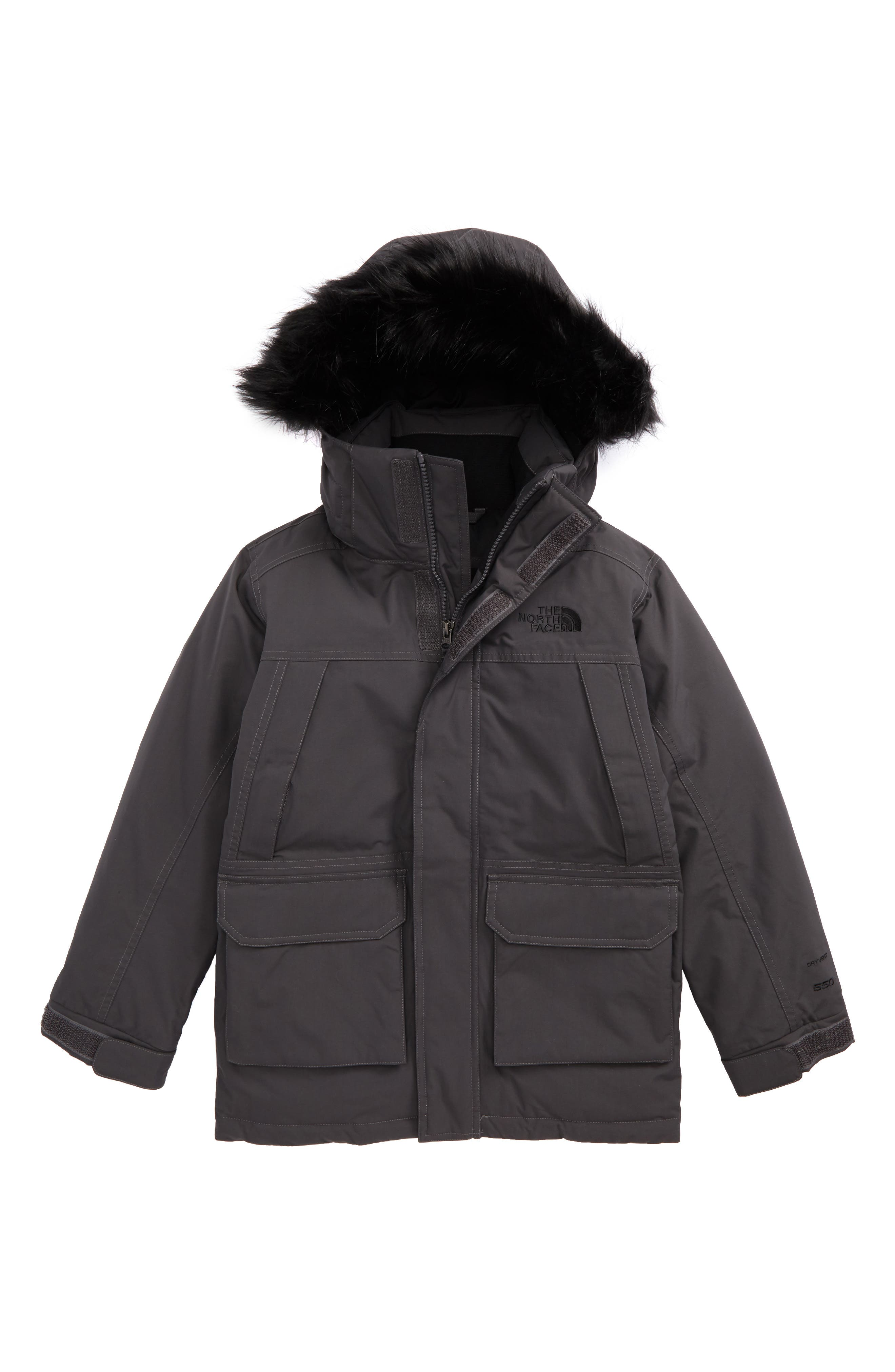 McMurdo Waterproof Down Parka with Faux Fur Trim,                             Main thumbnail 1, color,                             Graphite Grey