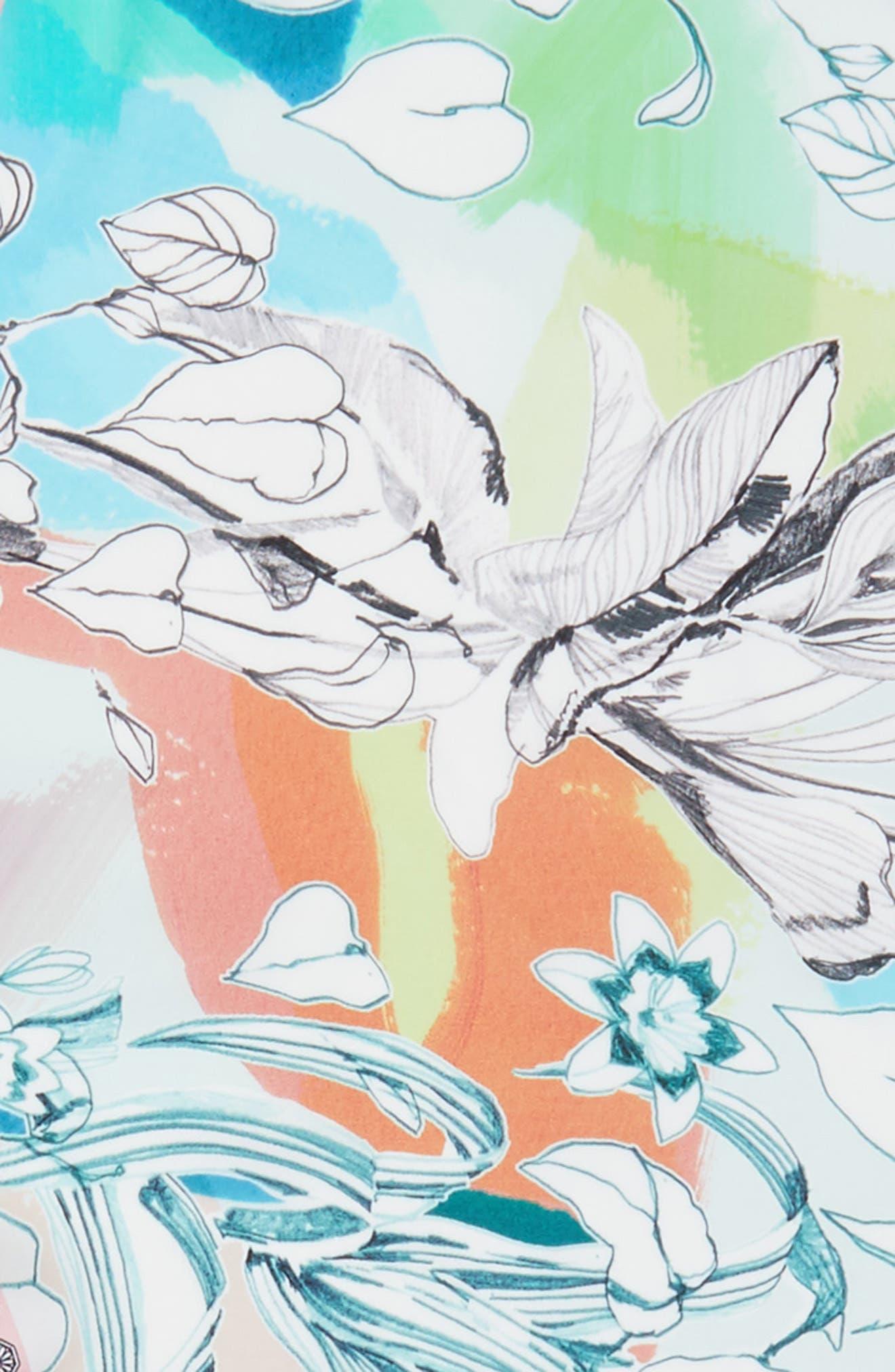 Seaside Floral Diamond Silk Scarf,                             Alternate thumbnail 4, color,                             Multi