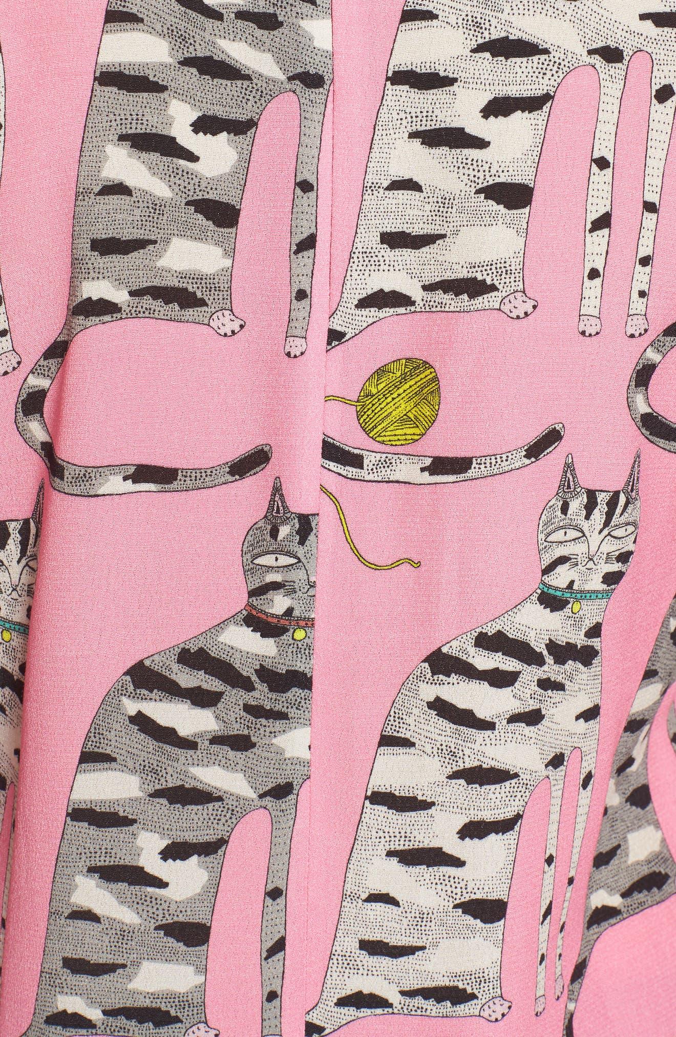 Cat Print Blouse,                             Alternate thumbnail 5, color,                             Pink
