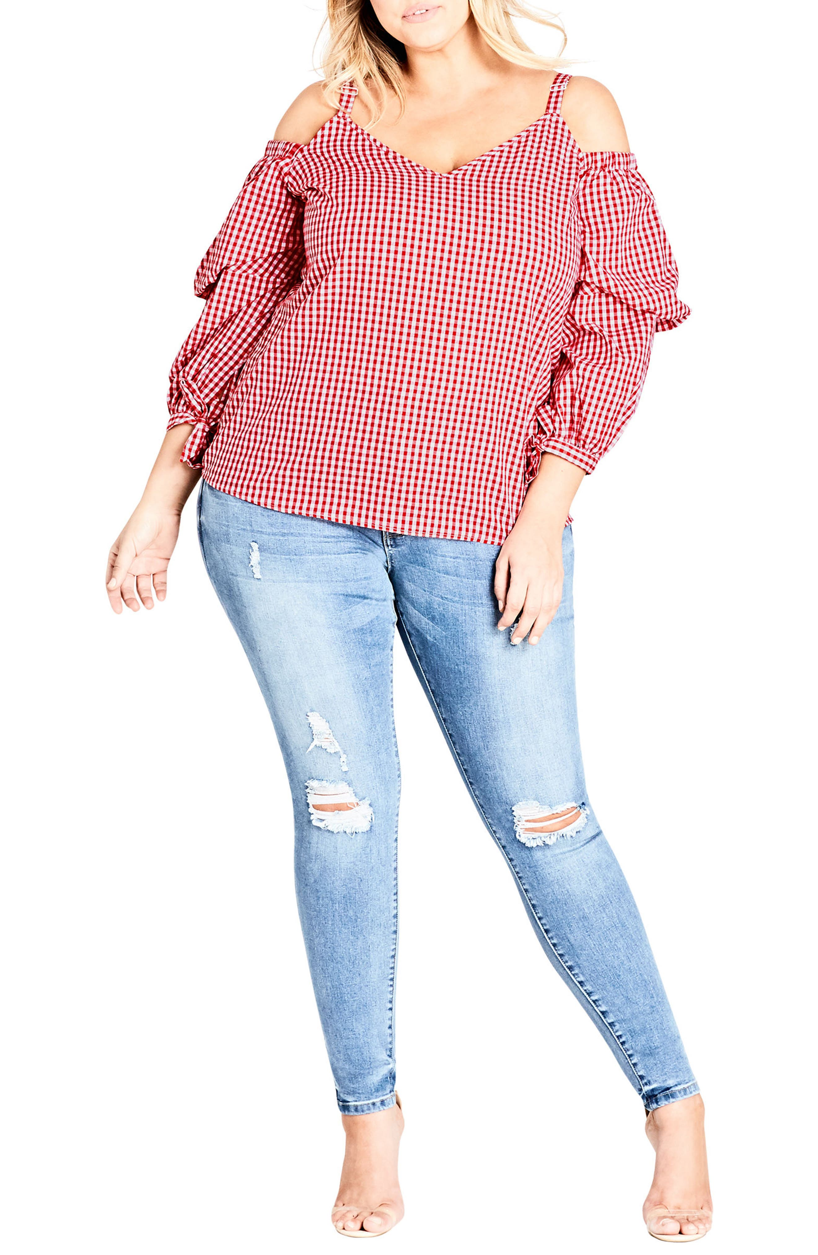 Cold Shoulder Picnic Party Top,                         Main,                         color, Red Check