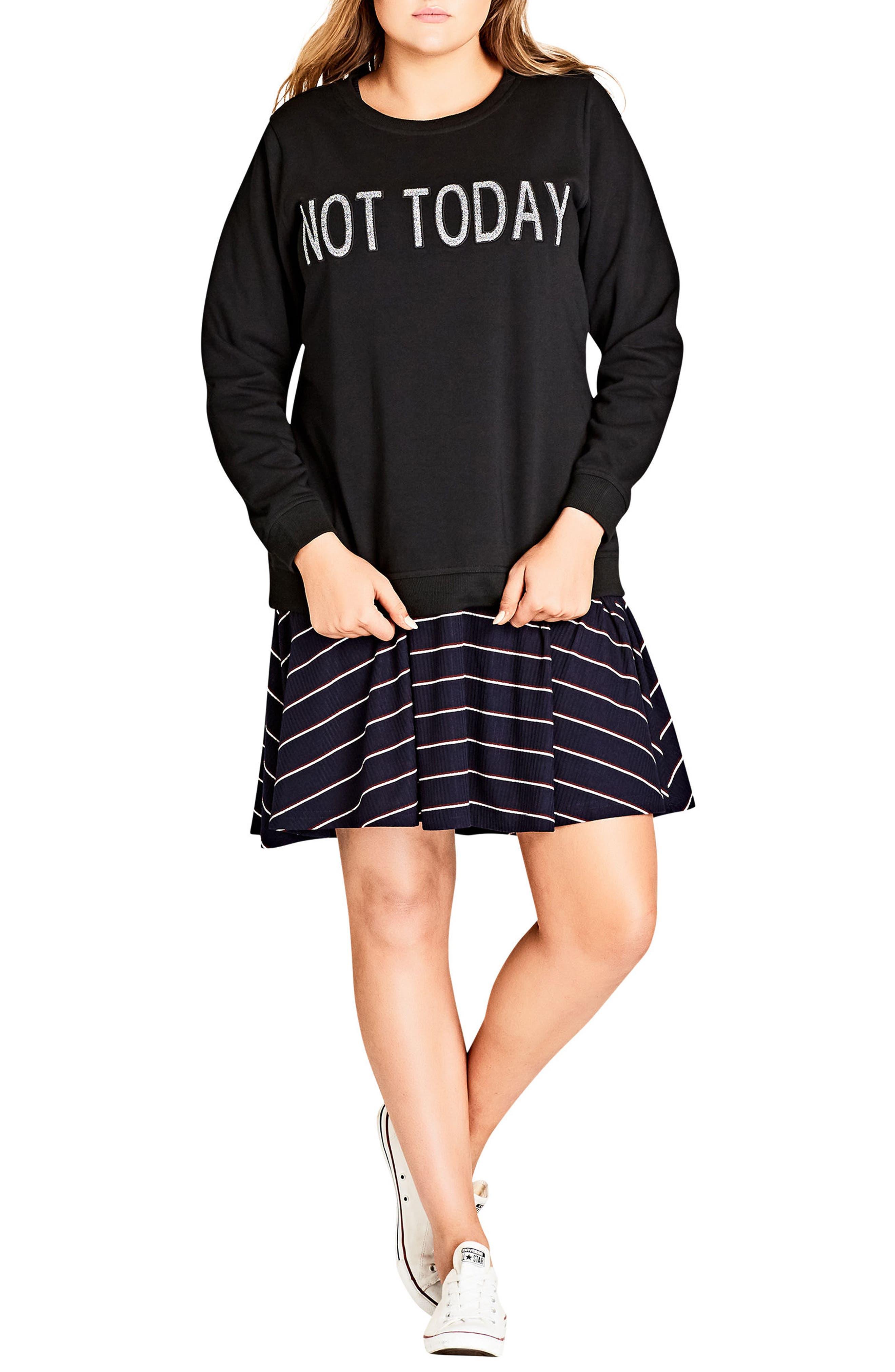 City Chic Top Slogan Sweatshirt (Plus Size)