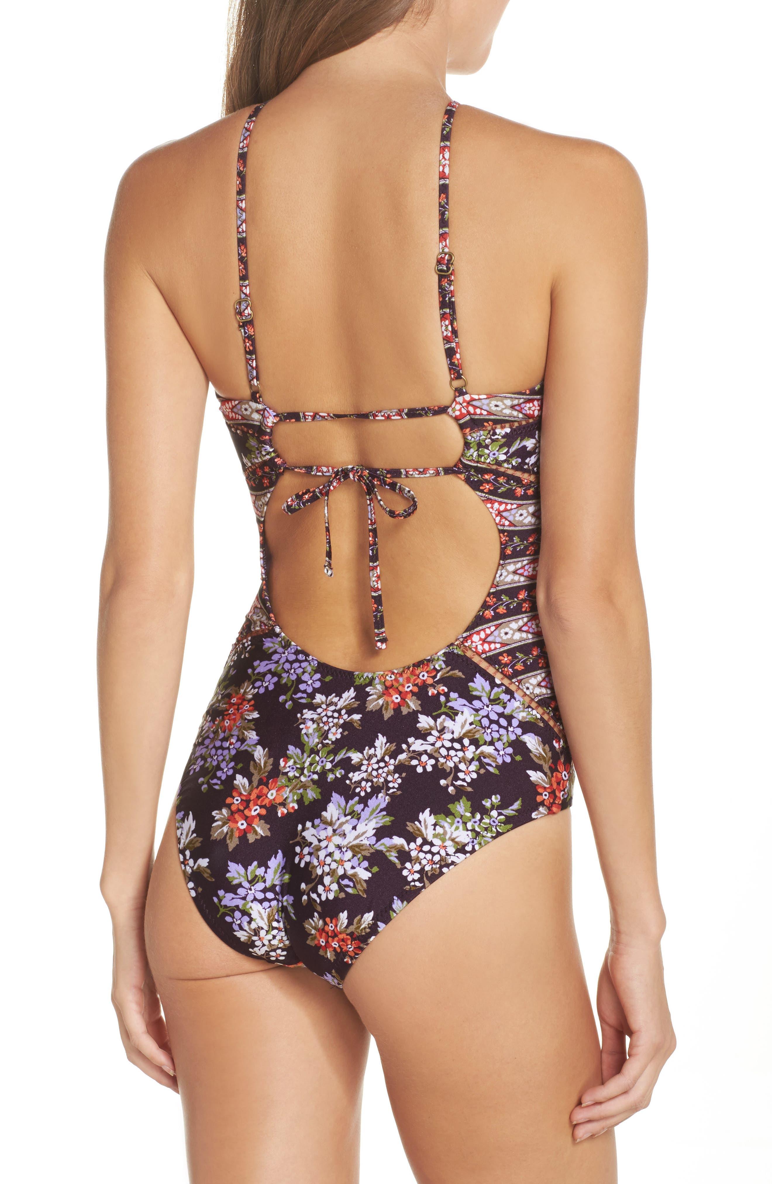 Floral Cottage One-Piece Swimsuit,                             Alternate thumbnail 2, color,                             Plum