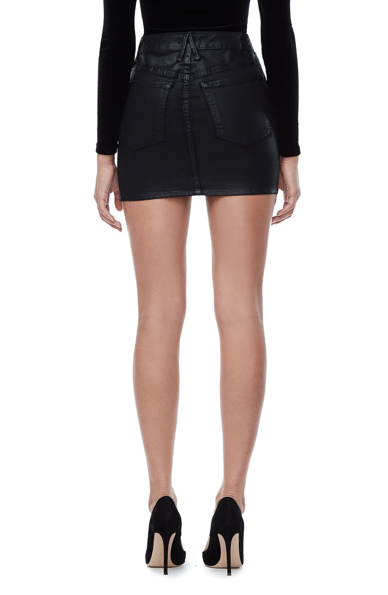 The Waxed Denim Miniskirt,                             Alternate thumbnail 2, color,                             Black