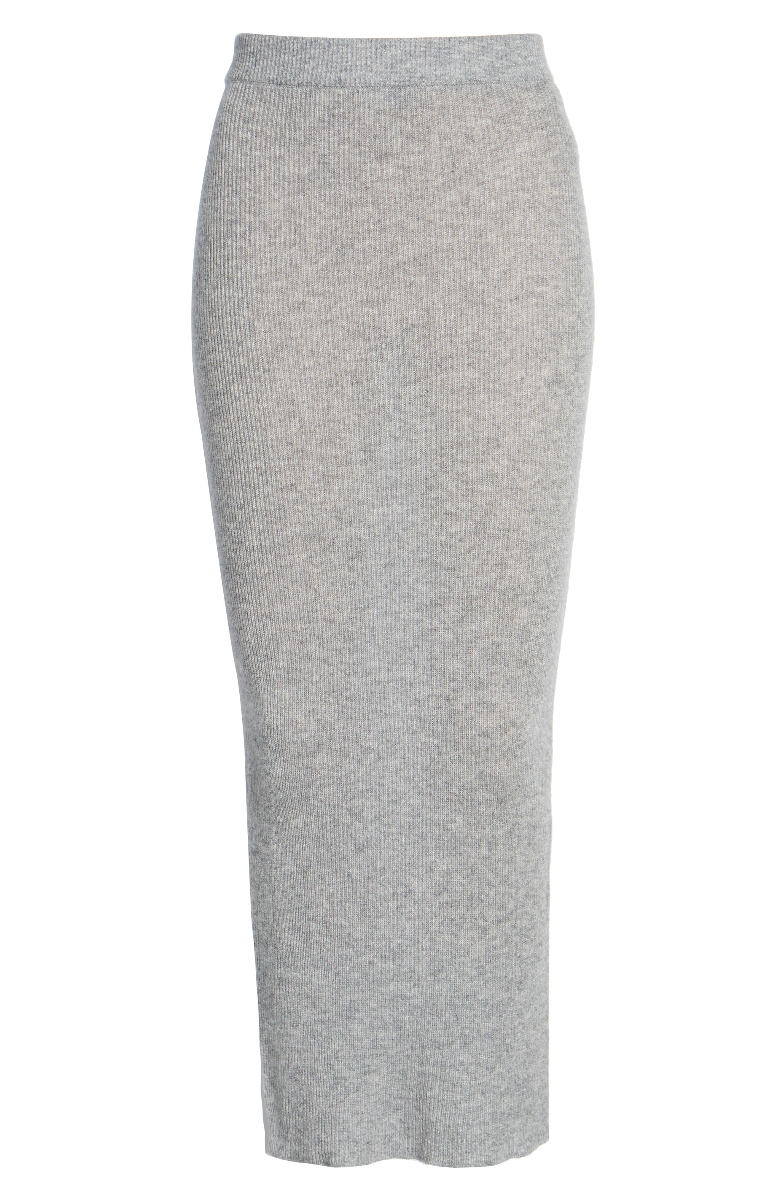 Cashmere Skirt,                             Alternate thumbnail 6, color,                             Heather Grey