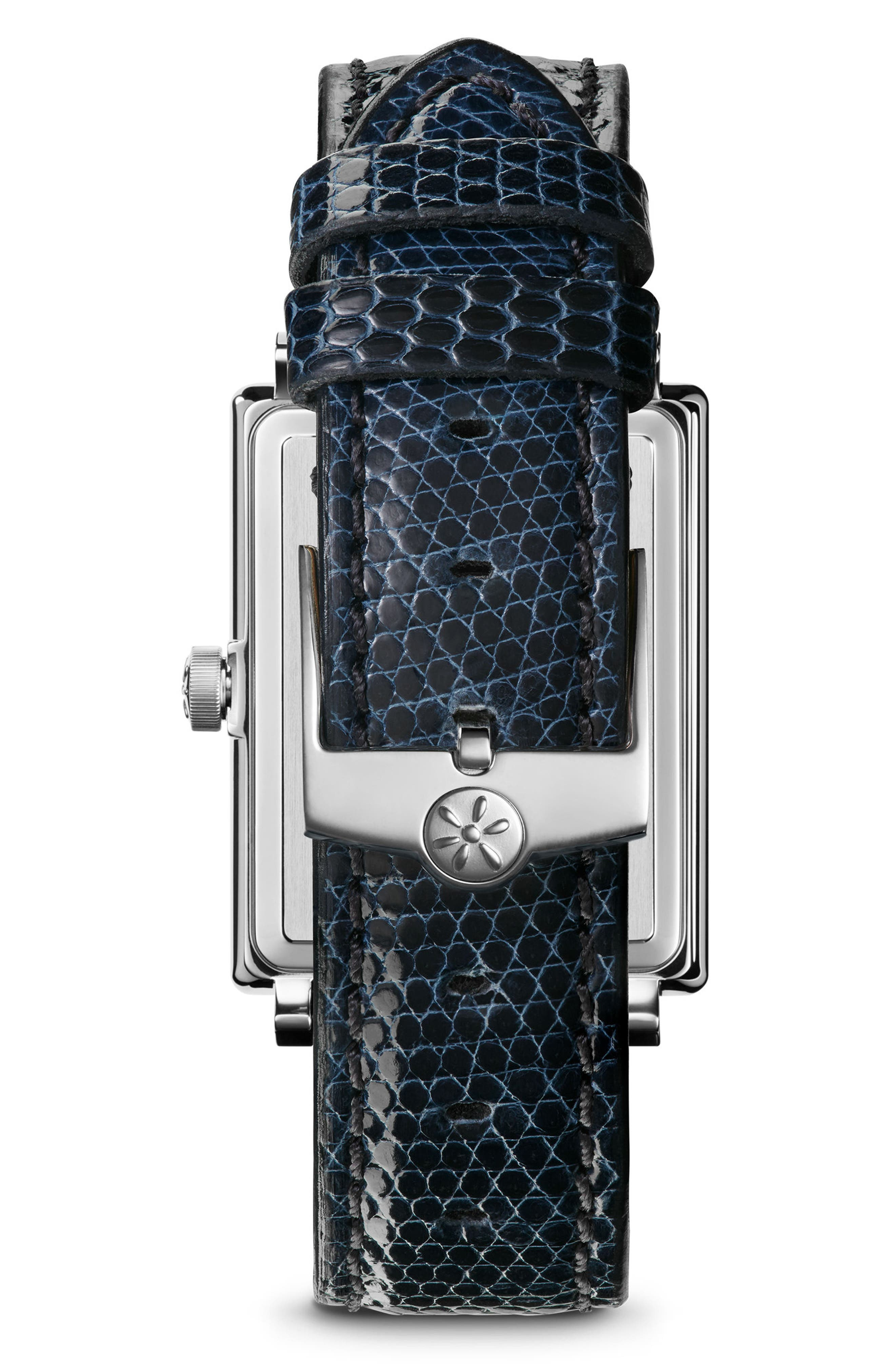The Shirley Fromer Leather Strap Watch, 32mm x 25mm,                             Alternate thumbnail 2, color,                             Navy/ Brass/ Silver