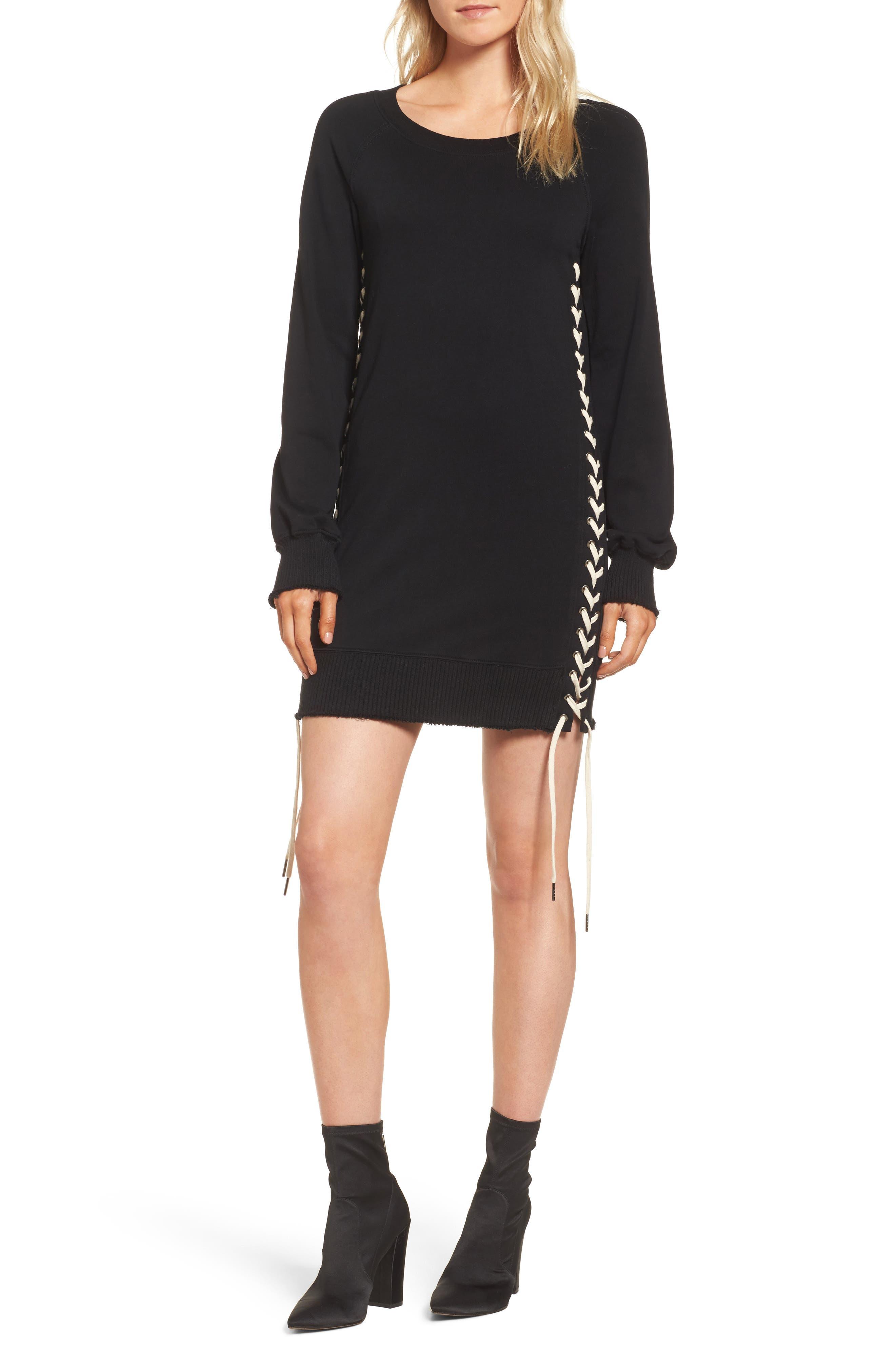 Lace-Up Sweatshirt Dress,                             Main thumbnail 1, color,                             Black