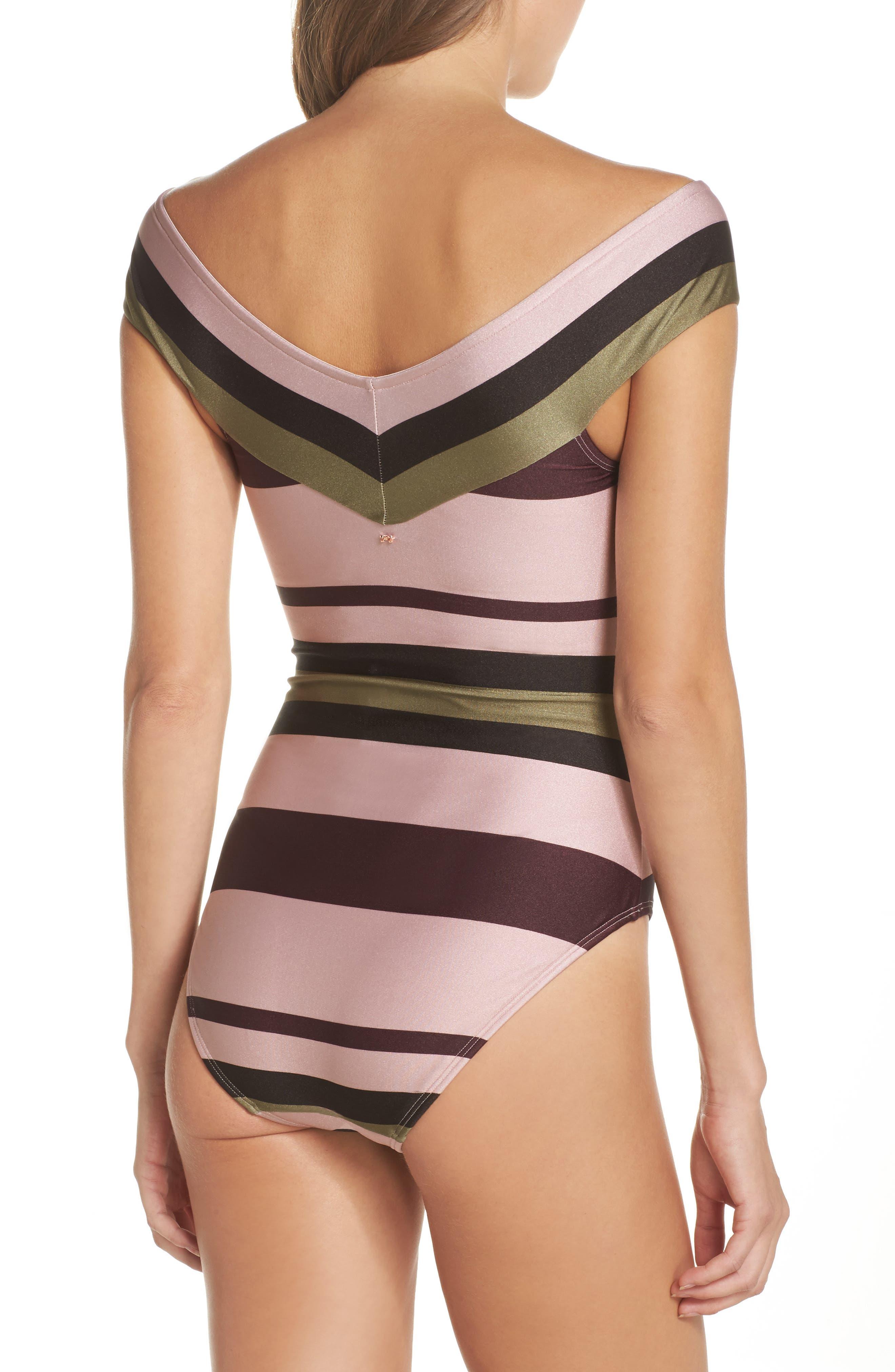 Imperial Stripe Bardot One-Piece Swimsuit,                             Alternate thumbnail 2, color,                             Dusky Pink