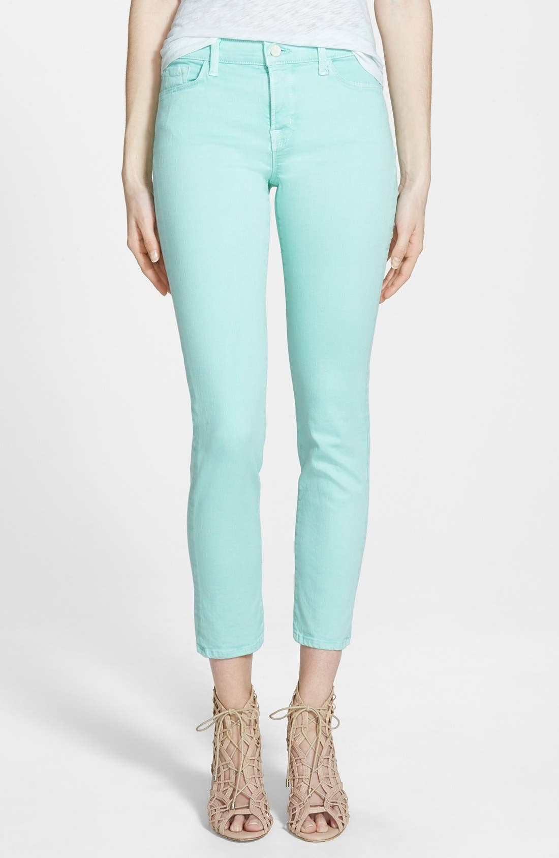 Main Image - J Brand 'Rail' Mid Rise Super Skinny Jeans (Sea Green)
