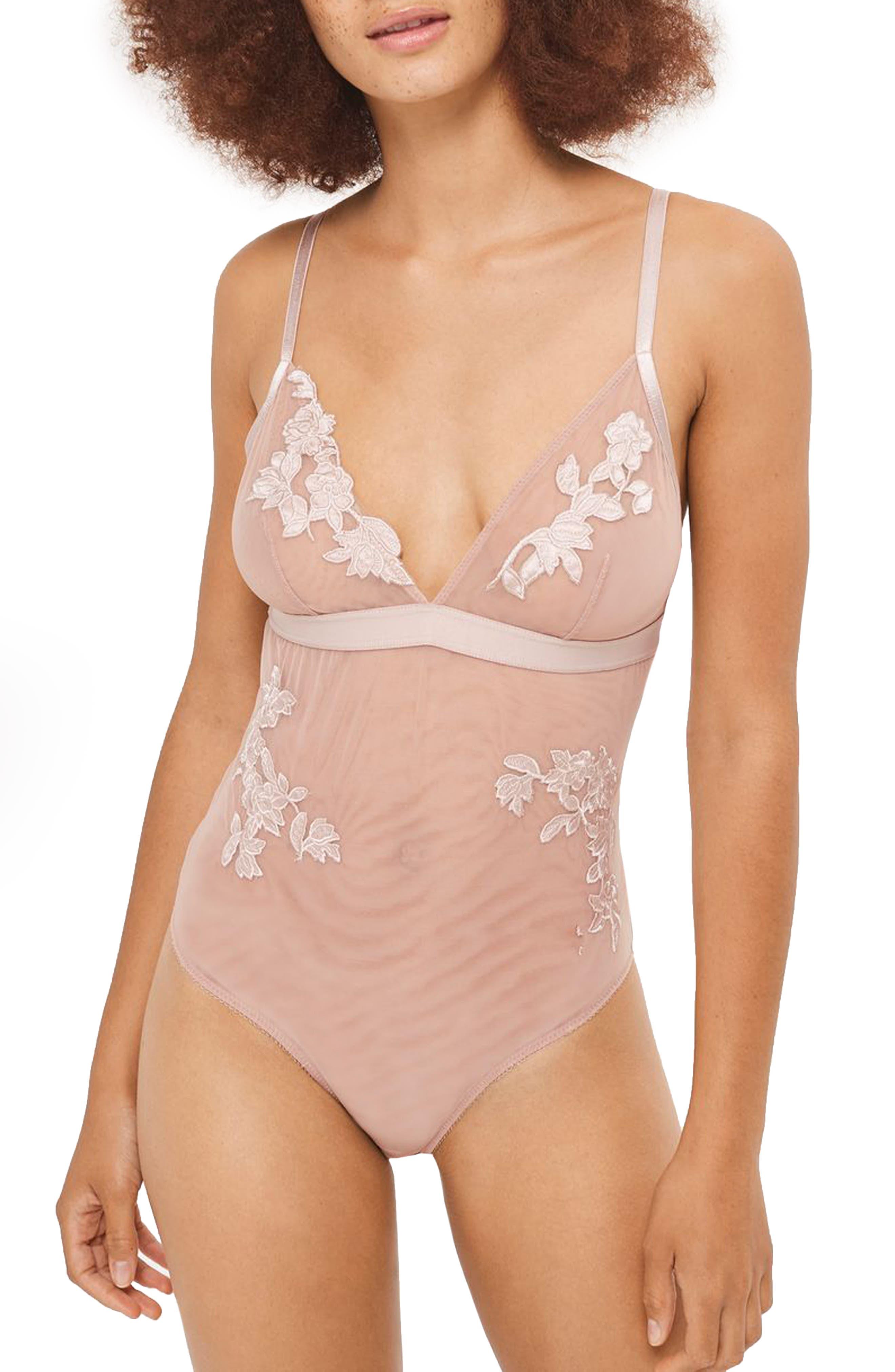 Rosalind Satin & Mesh Bodysuit,                             Main thumbnail 1, color,                             Pink