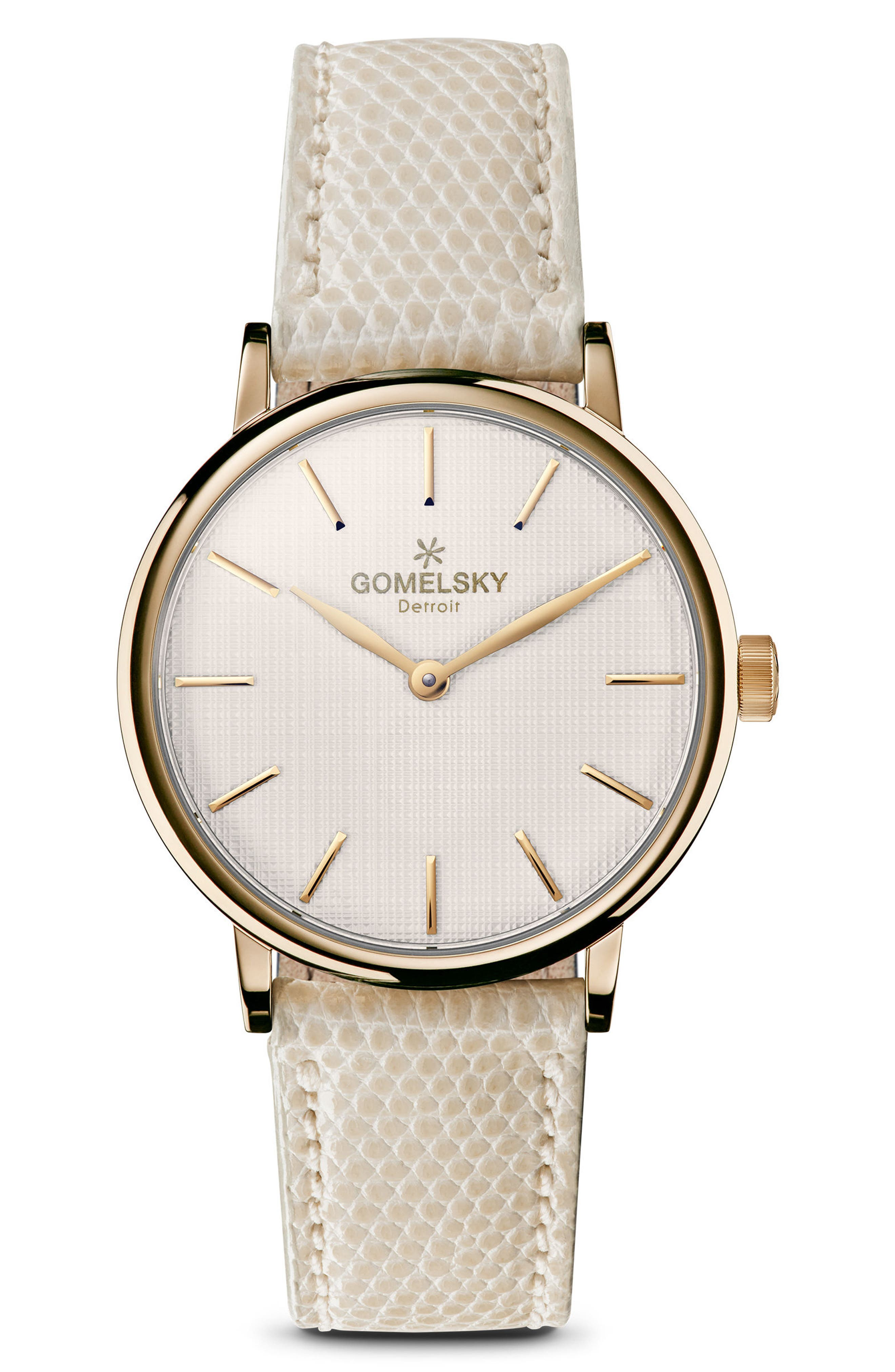 The Agnes Varis Lizard Strap Watch, 32mm,                         Main,                         color, Ivory/ Off White/ Brass