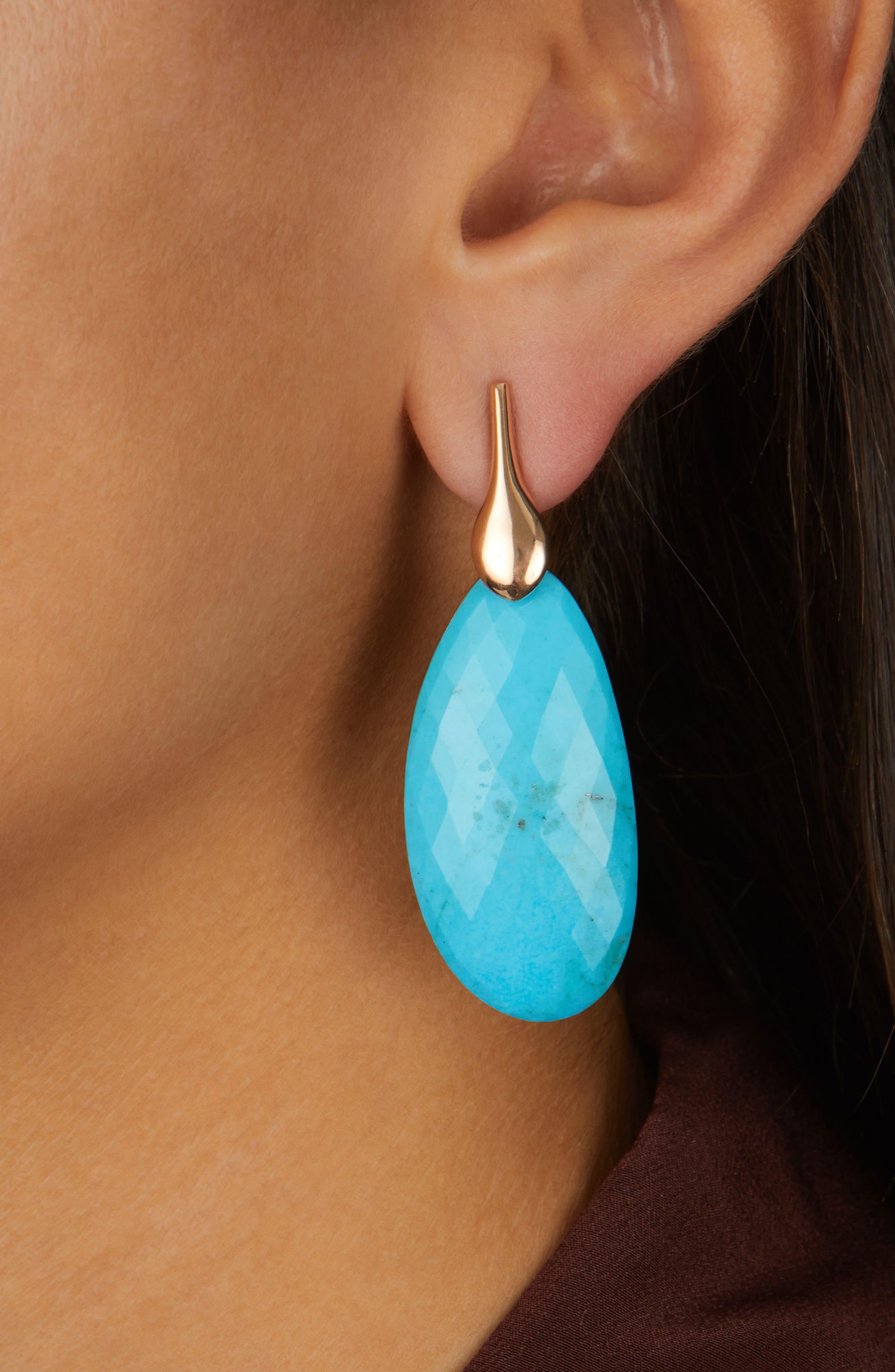 Nura Cocktail Earrings,                             Alternate thumbnail 3, color,                             Turquoise