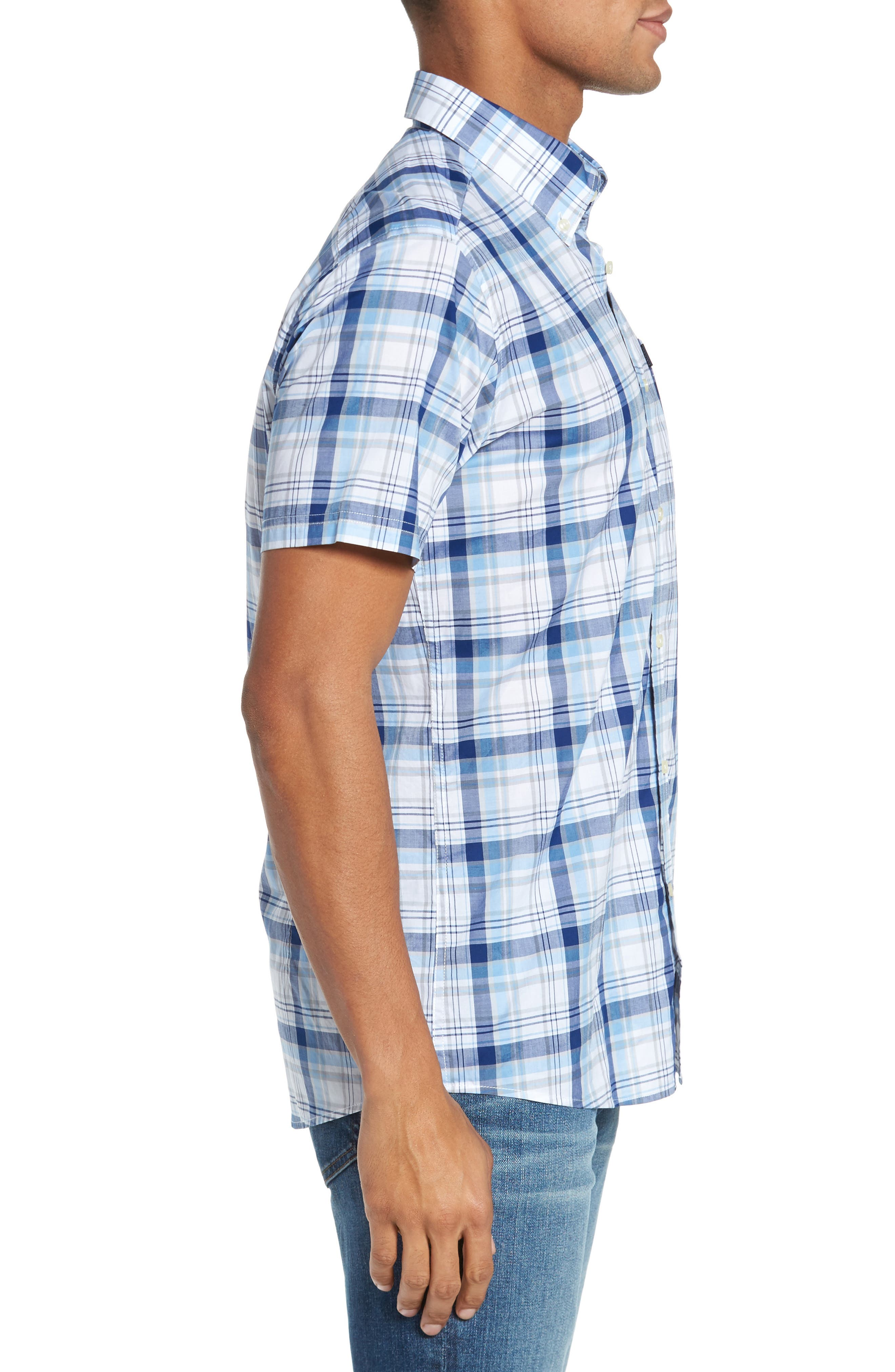 Gerald Tailored Fit Plaid Sport Shirt,                             Alternate thumbnail 3, color,                             Blue