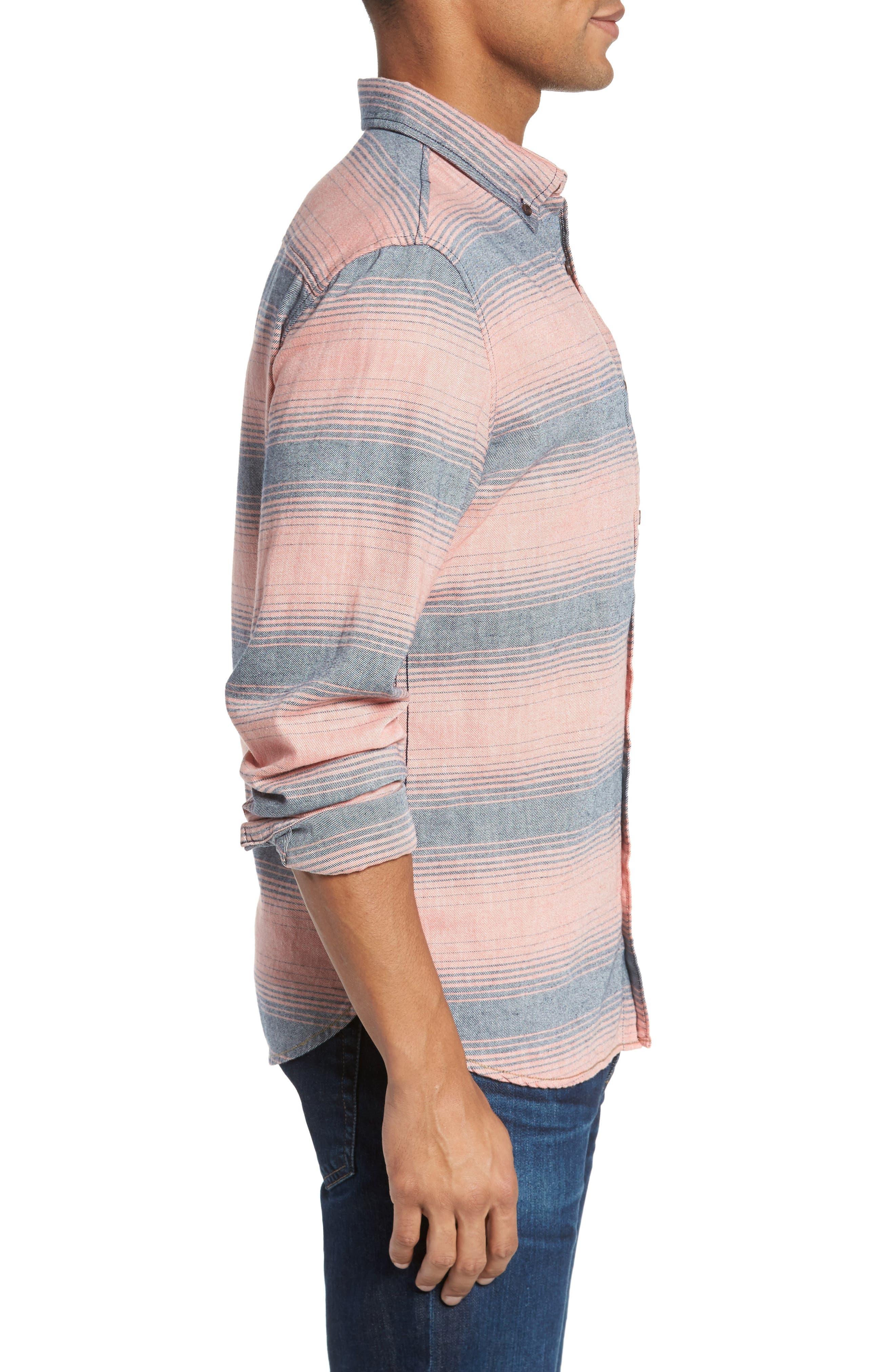 Alternate Image 3  - Surfside Supply Brushed Stripe Sport Shirt