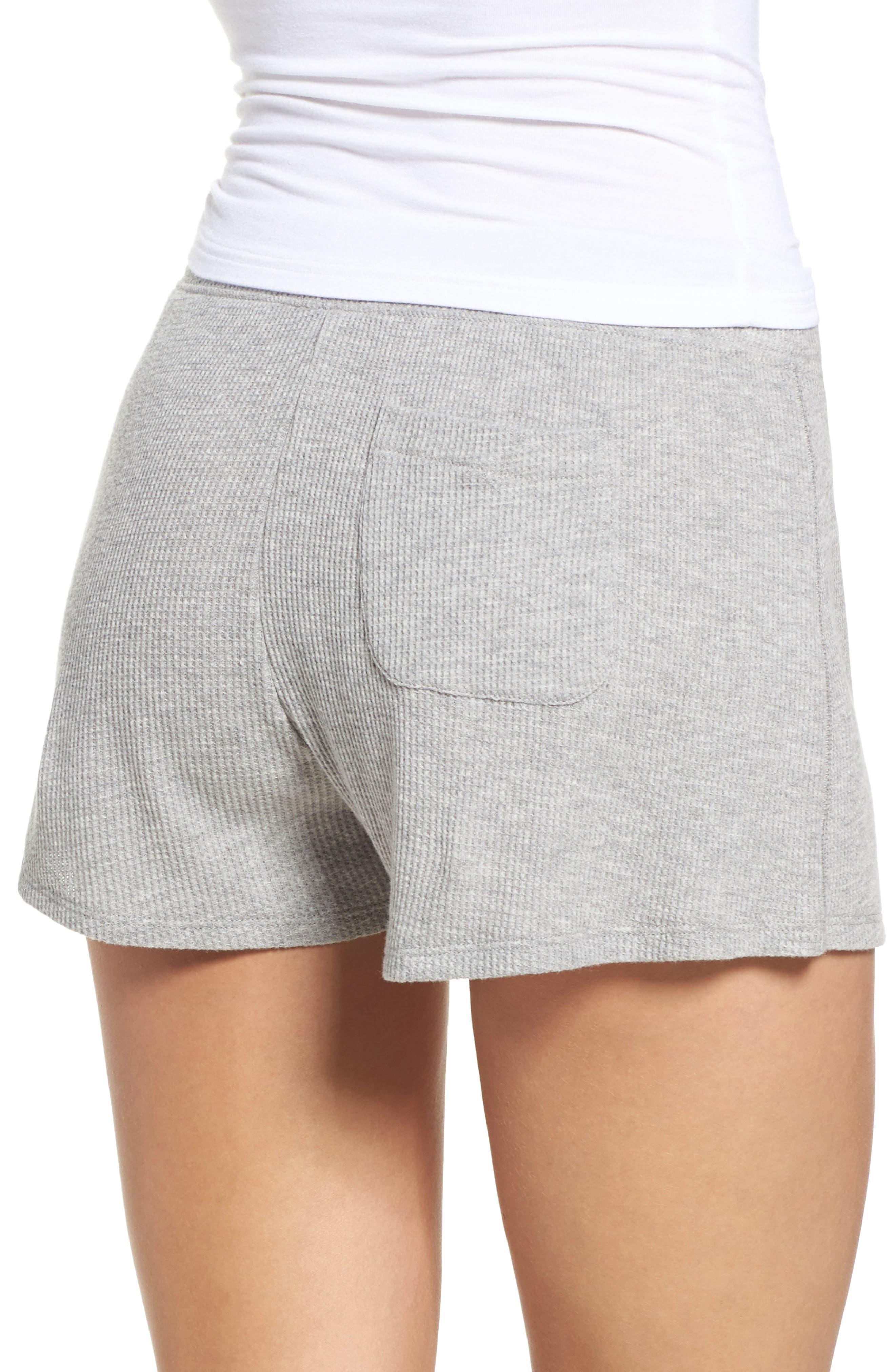 Waffle Knit Lounge Shorts,                             Alternate thumbnail 2, color,                             Heather Grey