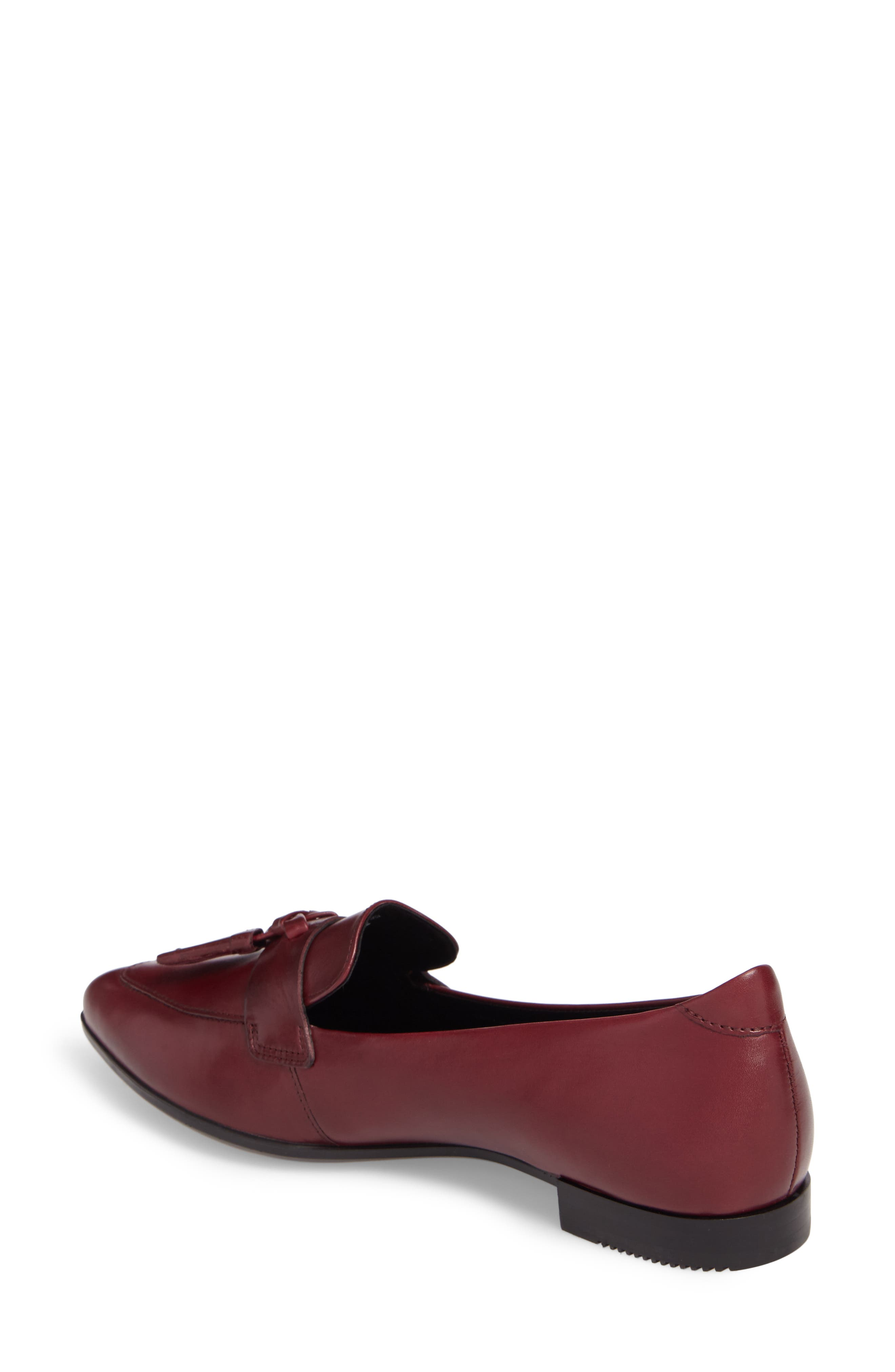 Pointy Toe Flat,                             Alternate thumbnail 2, color,                             Red Leather
