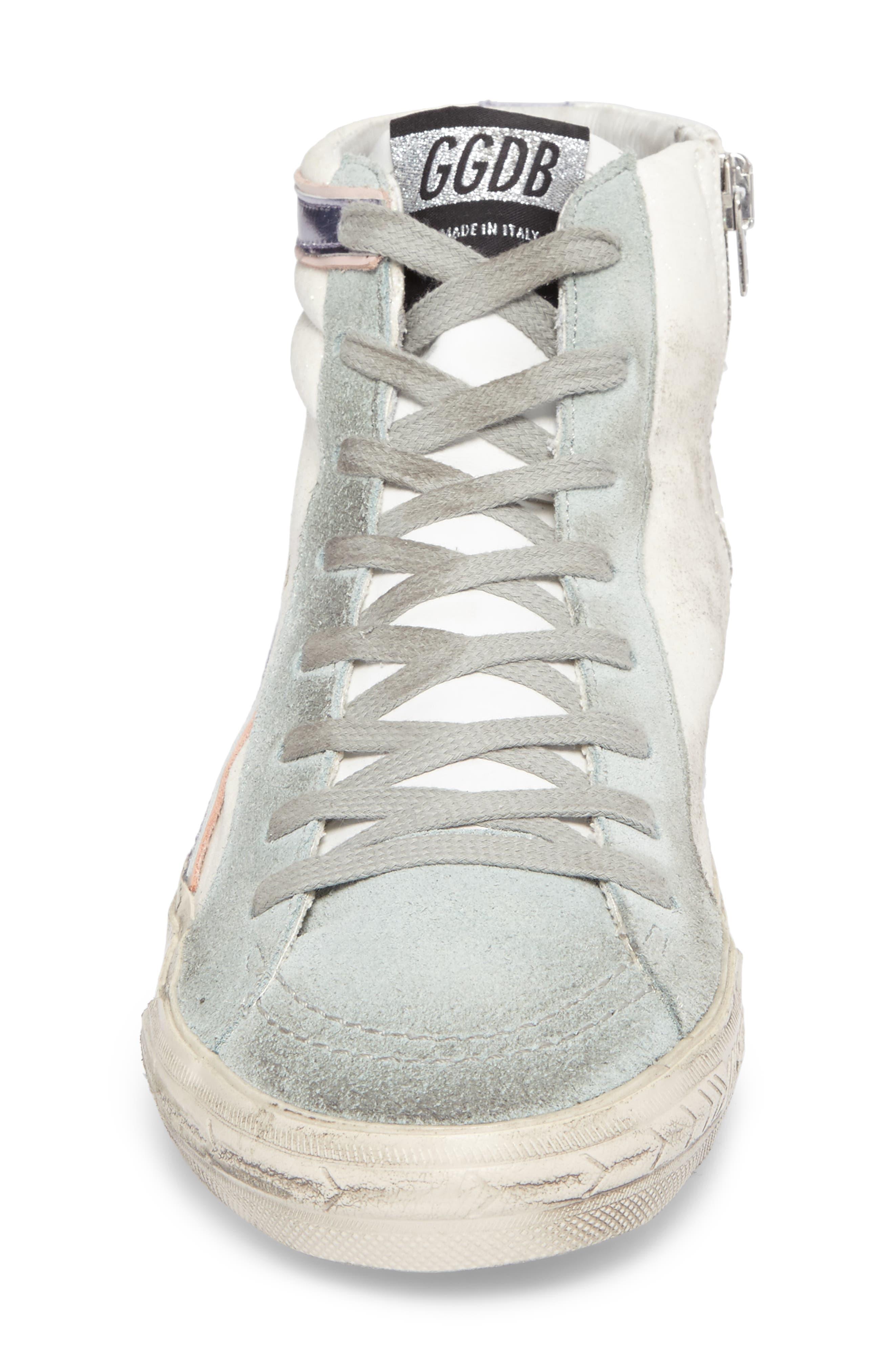 Slide High Top Sneaker,                             Alternate thumbnail 4, color,                             White/ Mint Green