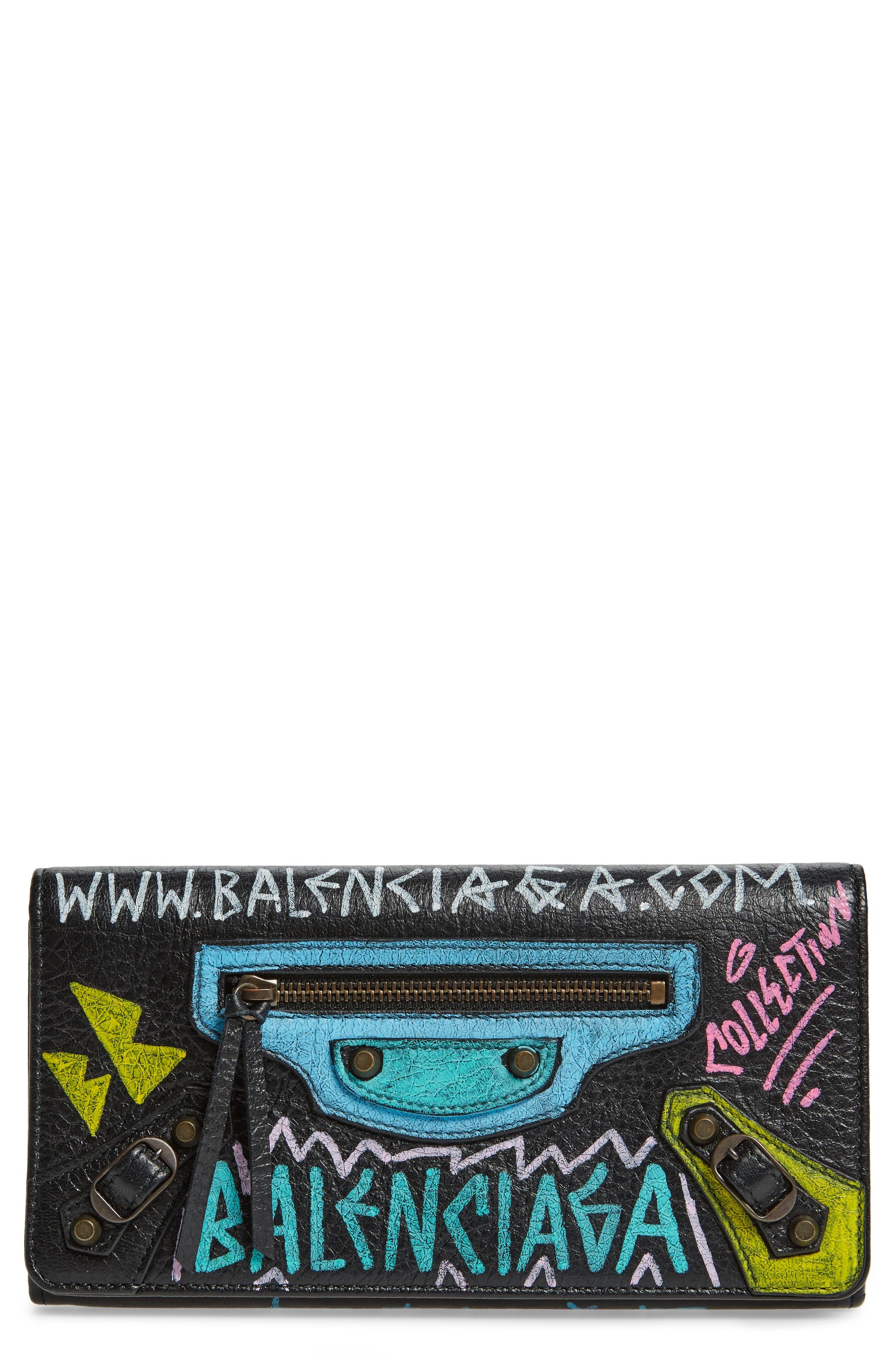 Classic Graffiti Leather Wallet,                             Main thumbnail 1, color,                             Noir/ Multi Color