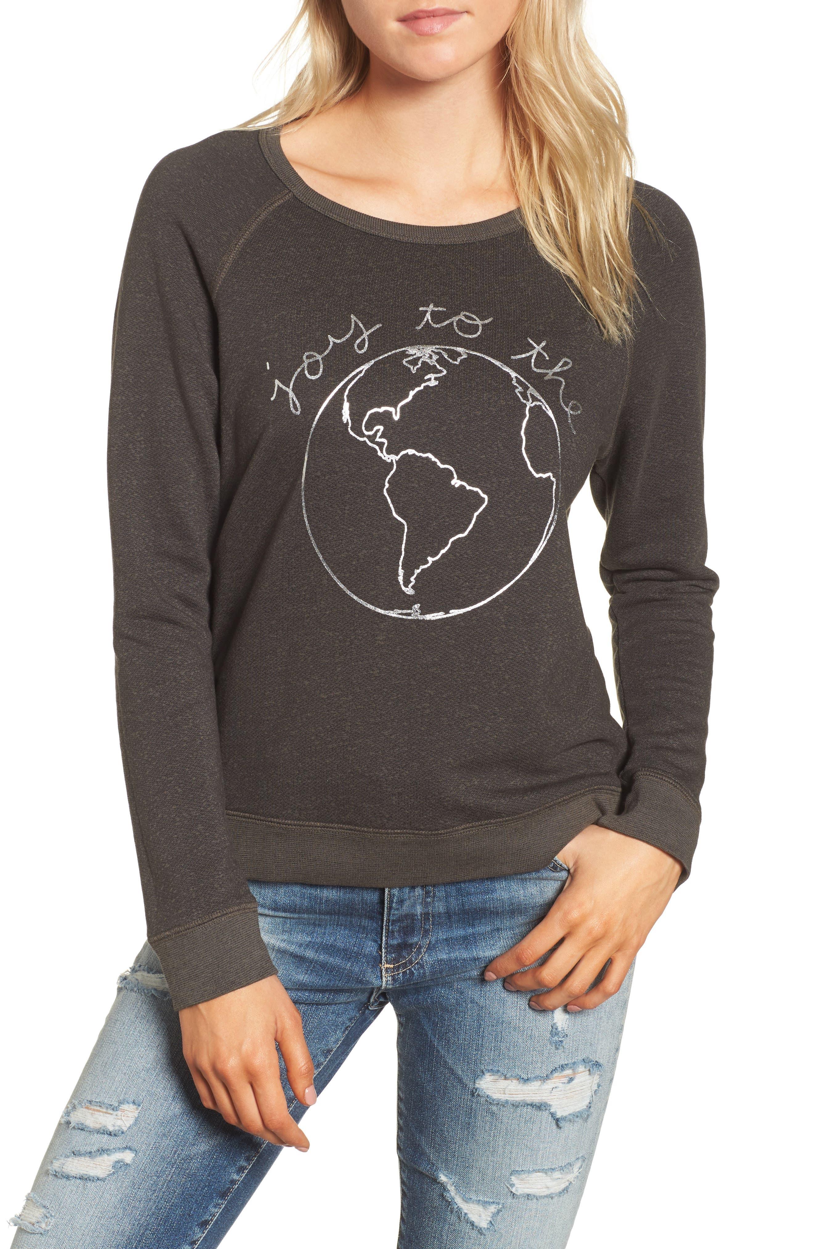 Joy to the World Sweatshirt,                             Main thumbnail 1, color,                             Black