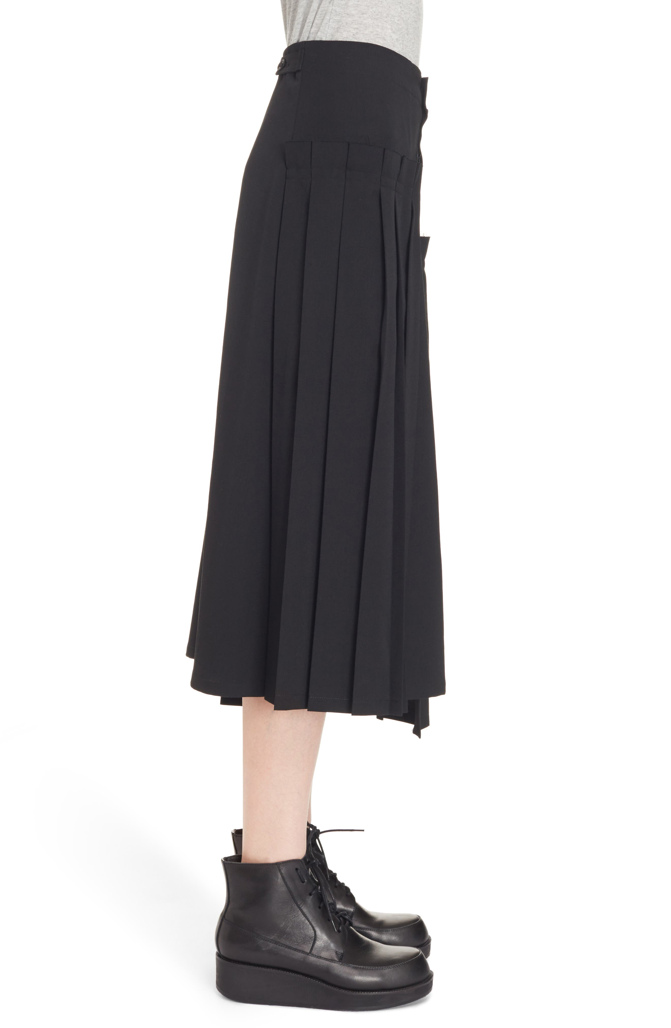 Pleated Button Front Wool Skirt,                             Alternate thumbnail 3, color,                             Black