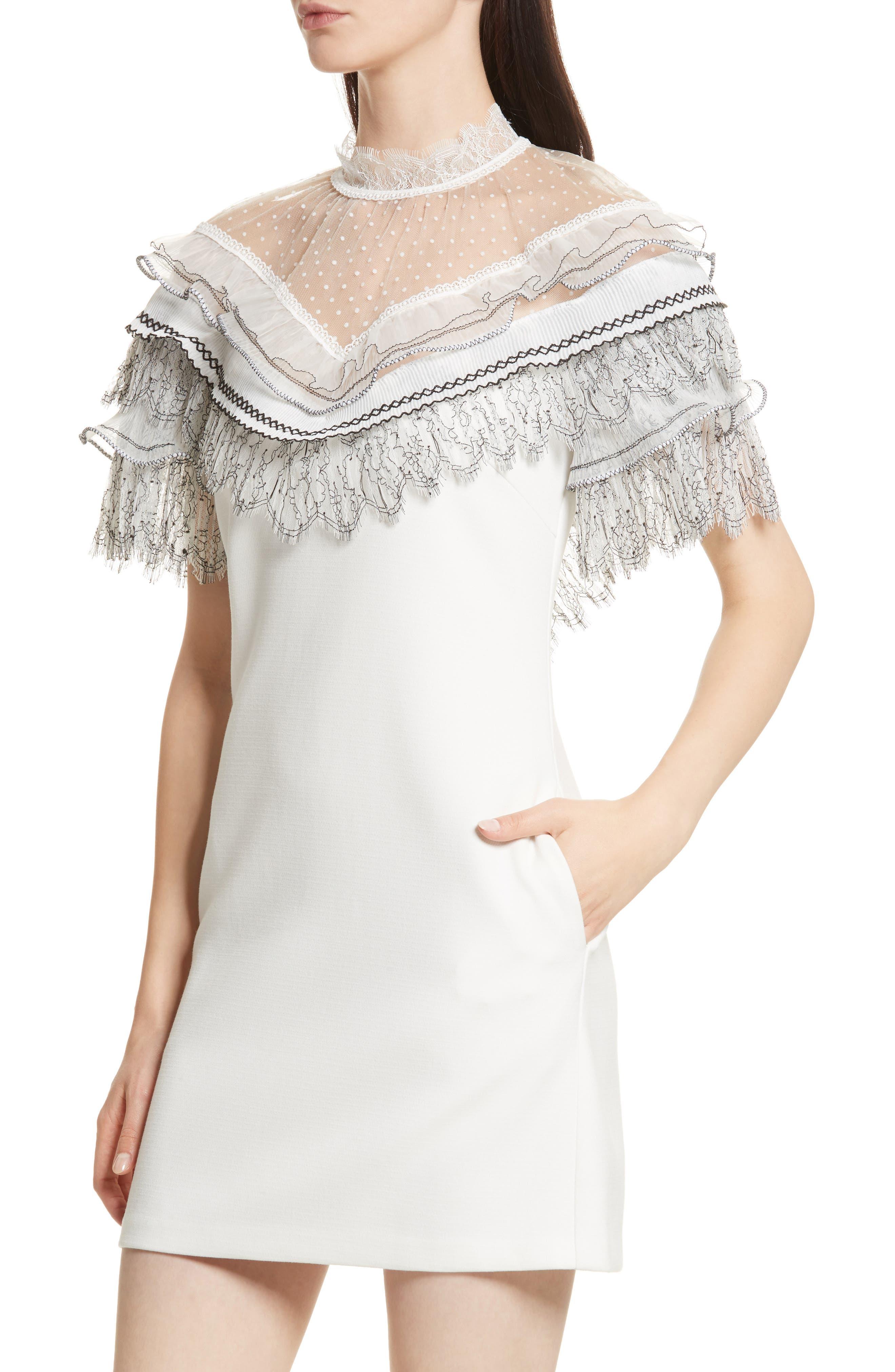 Pleated Lace Trim Minidress,                             Alternate thumbnail 4, color,                             Ivory