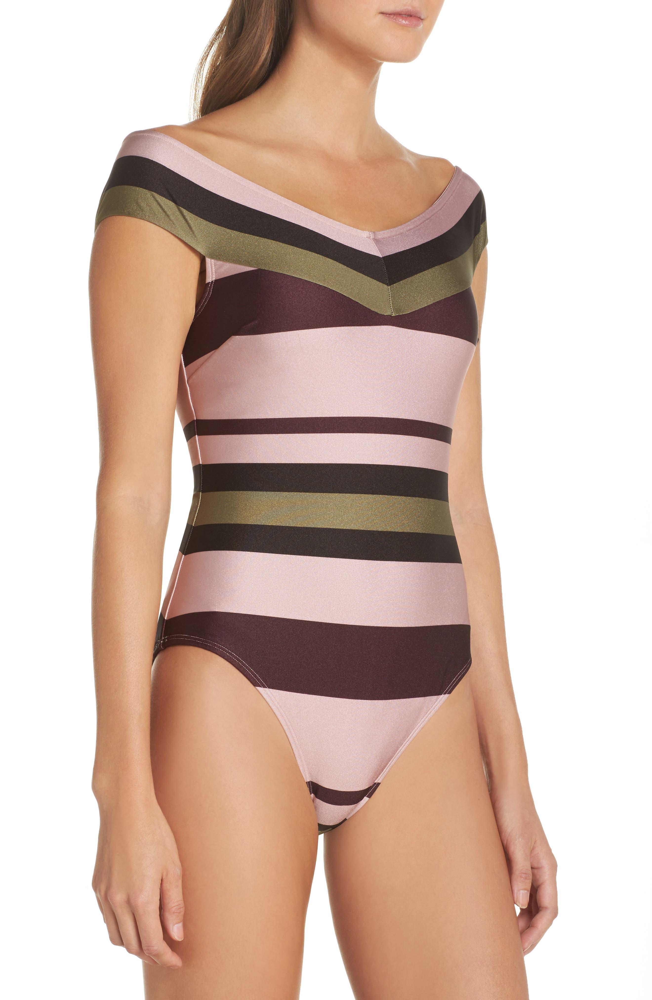 Imperial Stripe Bardot One-Piece Swimsuit,                             Alternate thumbnail 3, color,                             Dusky Pink