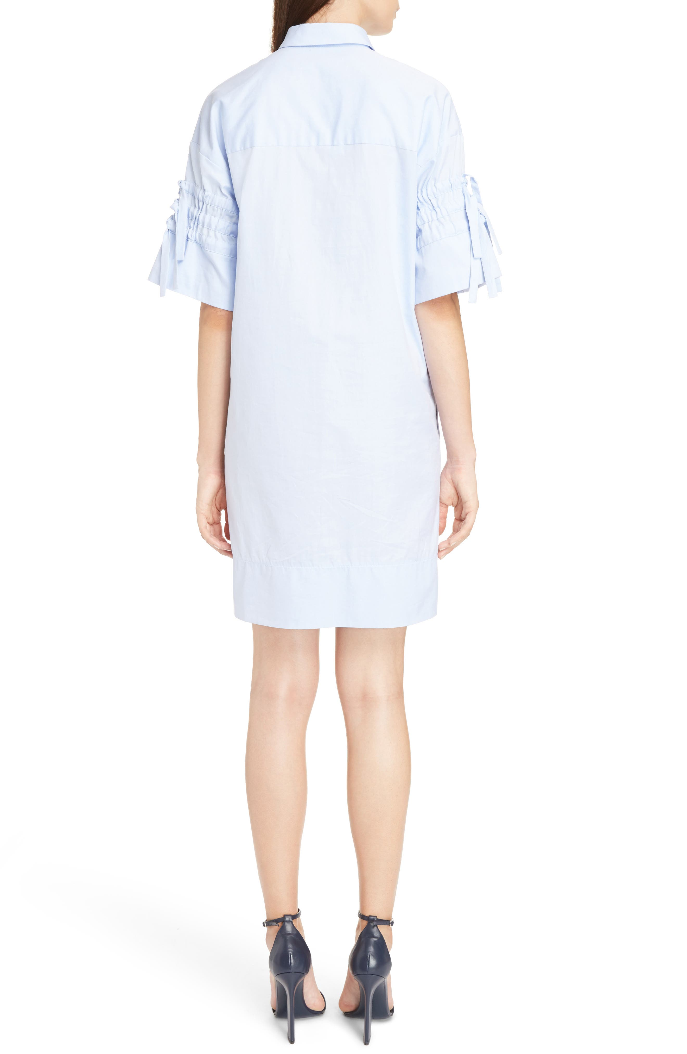 Victoria Victoria Beckham Gathered Sleeve Shirtdress,                             Alternate thumbnail 2, color,                             Oxford Blue