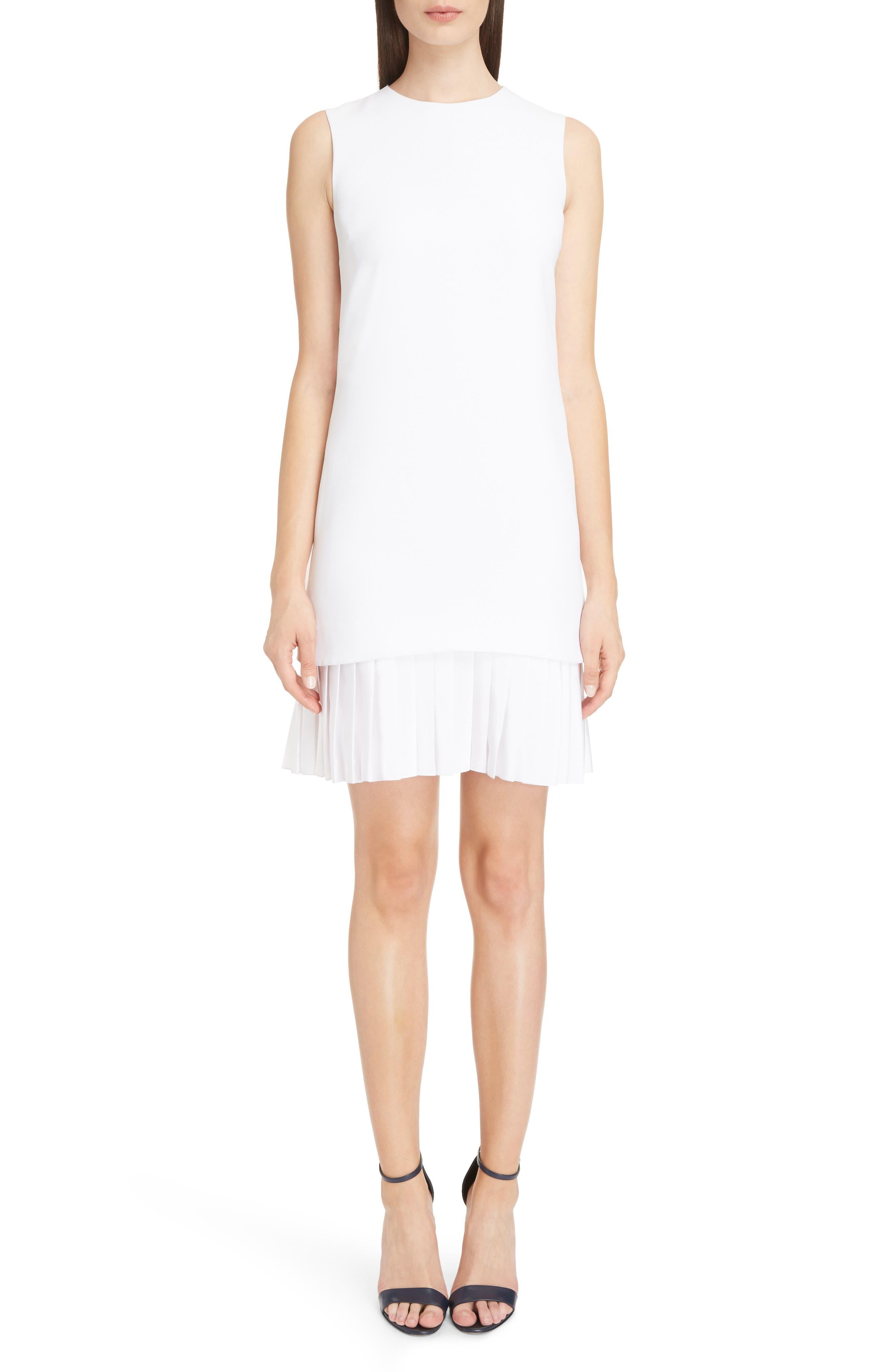 Victoria Victoria Beckham Pleated Hem Shift Dress,                         Main,                         color, Optic White
